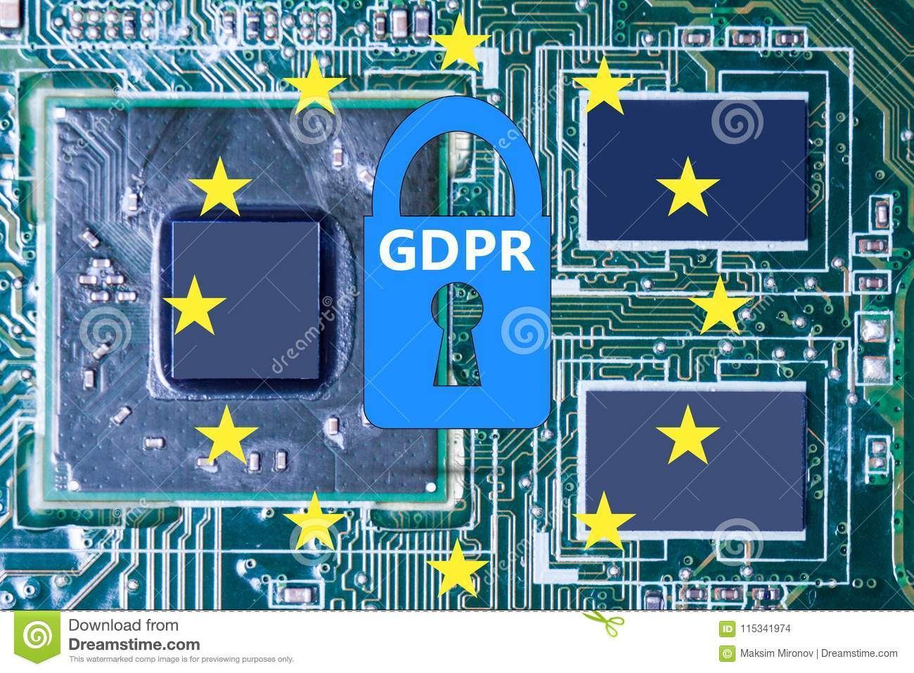 Marvelous Macro Photo Of Circuit Board And Chip With Gdpr Stock Illustration Wiring 101 Breceaxxcnl