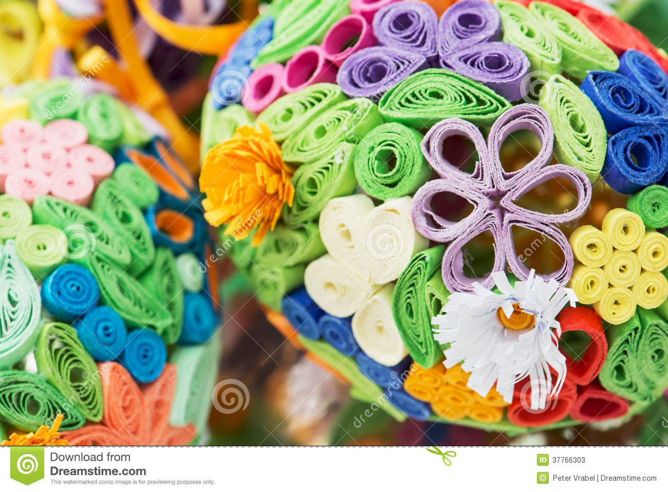 Macro Photo Of Easter Eggs Made Of Colored Paper Stock Image Image