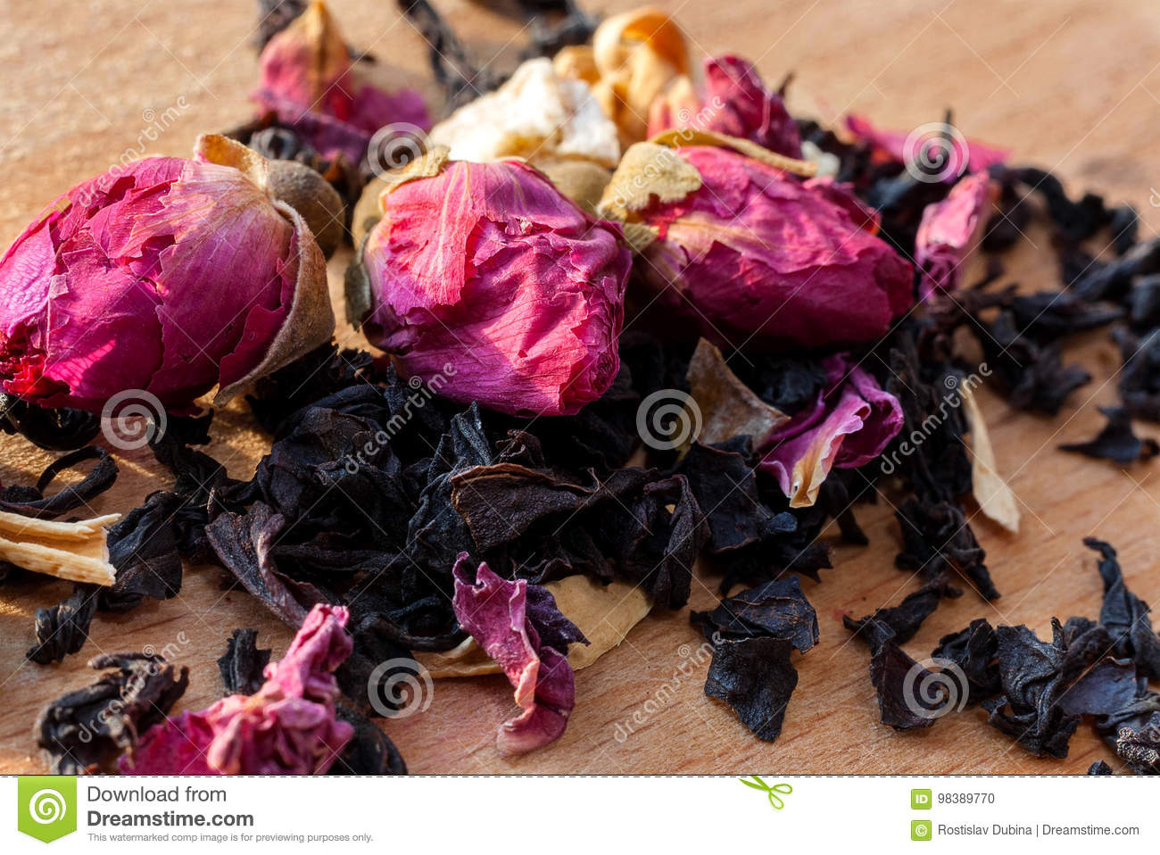 Macro Photo Of Tea With A Tea Rose The Composition Of The Heap Of
