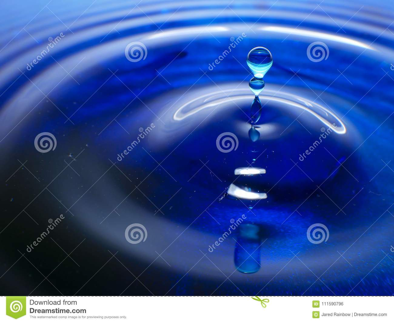 Macro Photography Of A Dark Blue Water Drop Ink Drops Splash And Ripples Wet