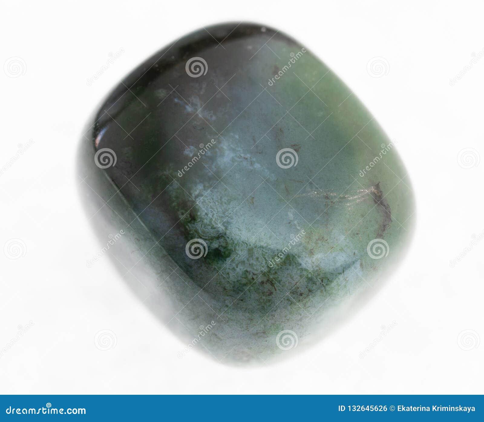 Polished Heliotrope (bloodstone) Gem On White Stock Photo - Image of