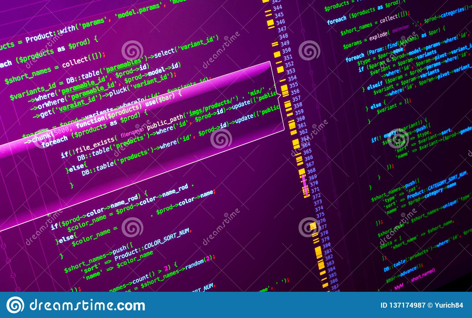 Macro php code on pink background. Web developing on the php language
