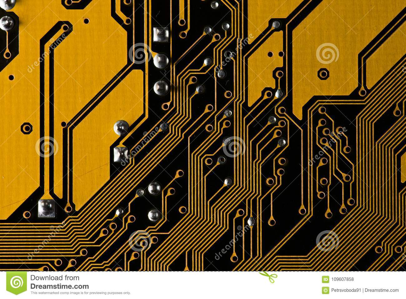 Macro Picture Of Yellow Printed Circuit Board Pcb Texture Stock Stockfoto Used In Industrial Electronic Download Photo Image