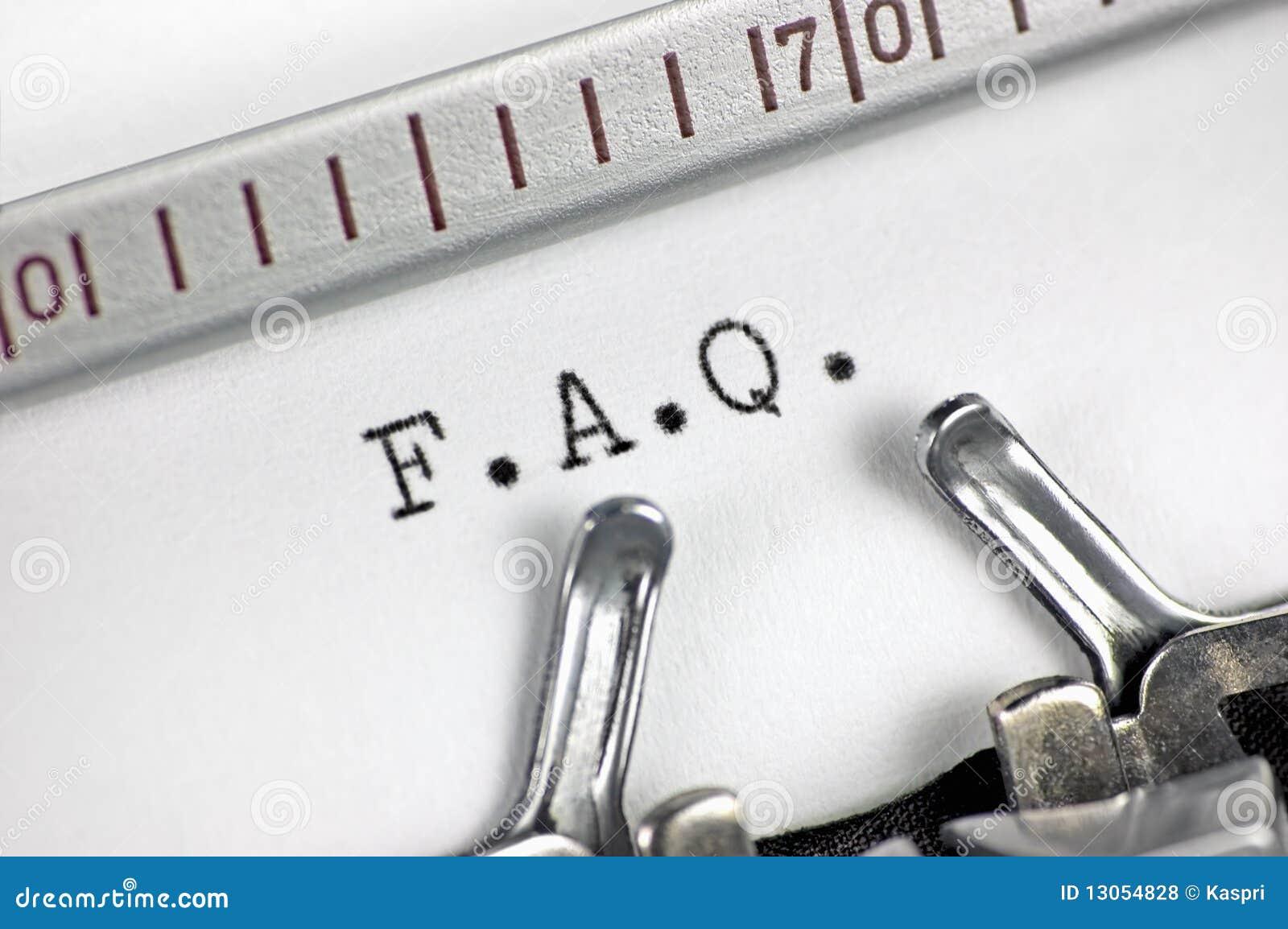Macro plan rapproché de machine à écrire, FAQ tapant