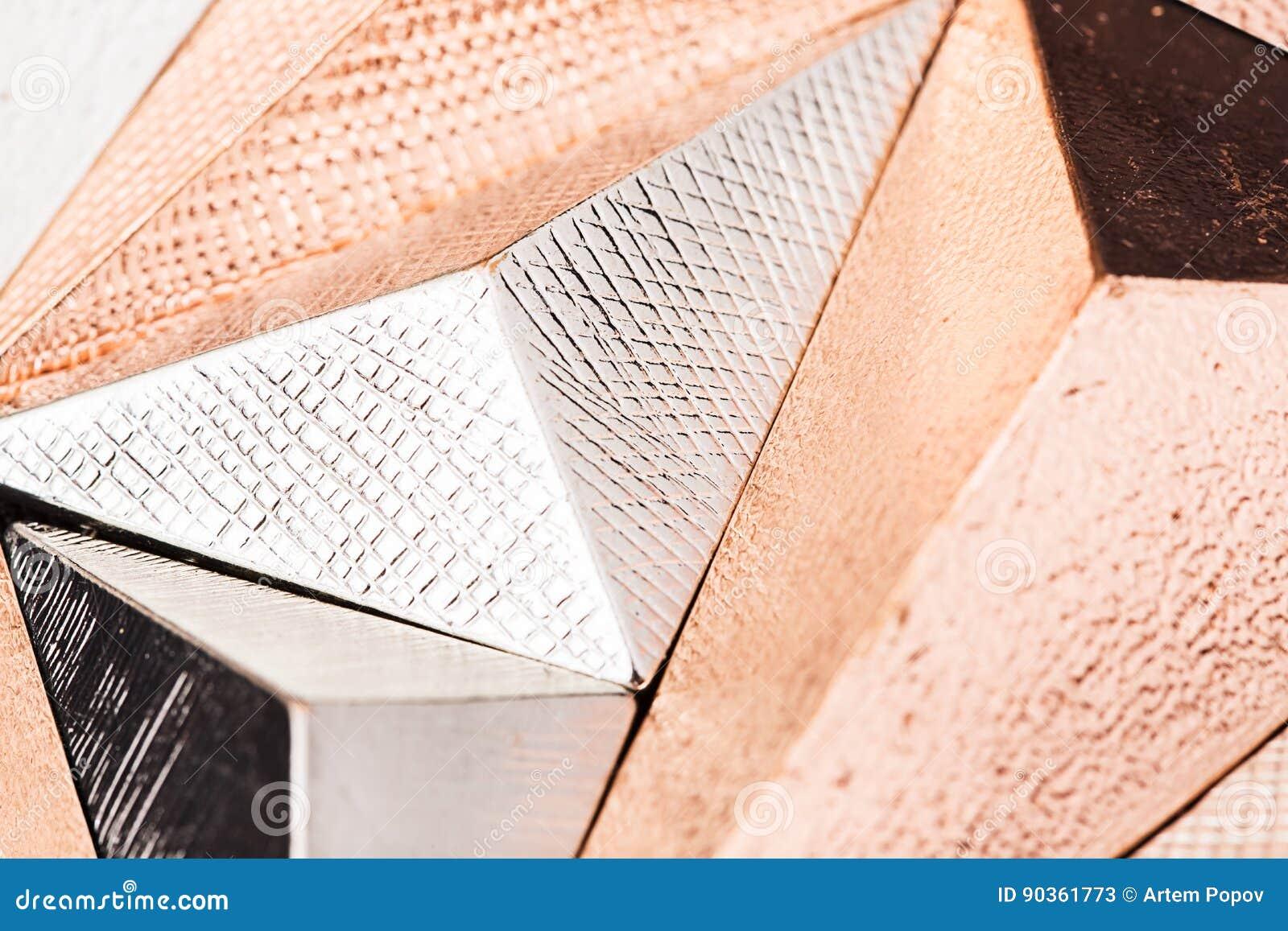 Macro résumé métallique tridimensionnel