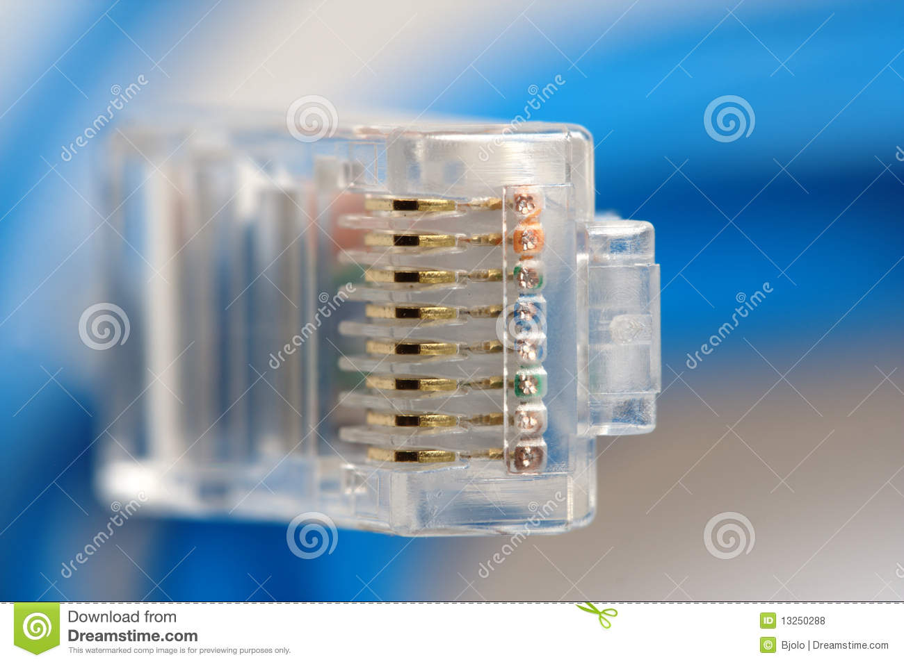 macro of rj45 network connection plug royalty free stock photos image 13250288. Black Bedroom Furniture Sets. Home Design Ideas