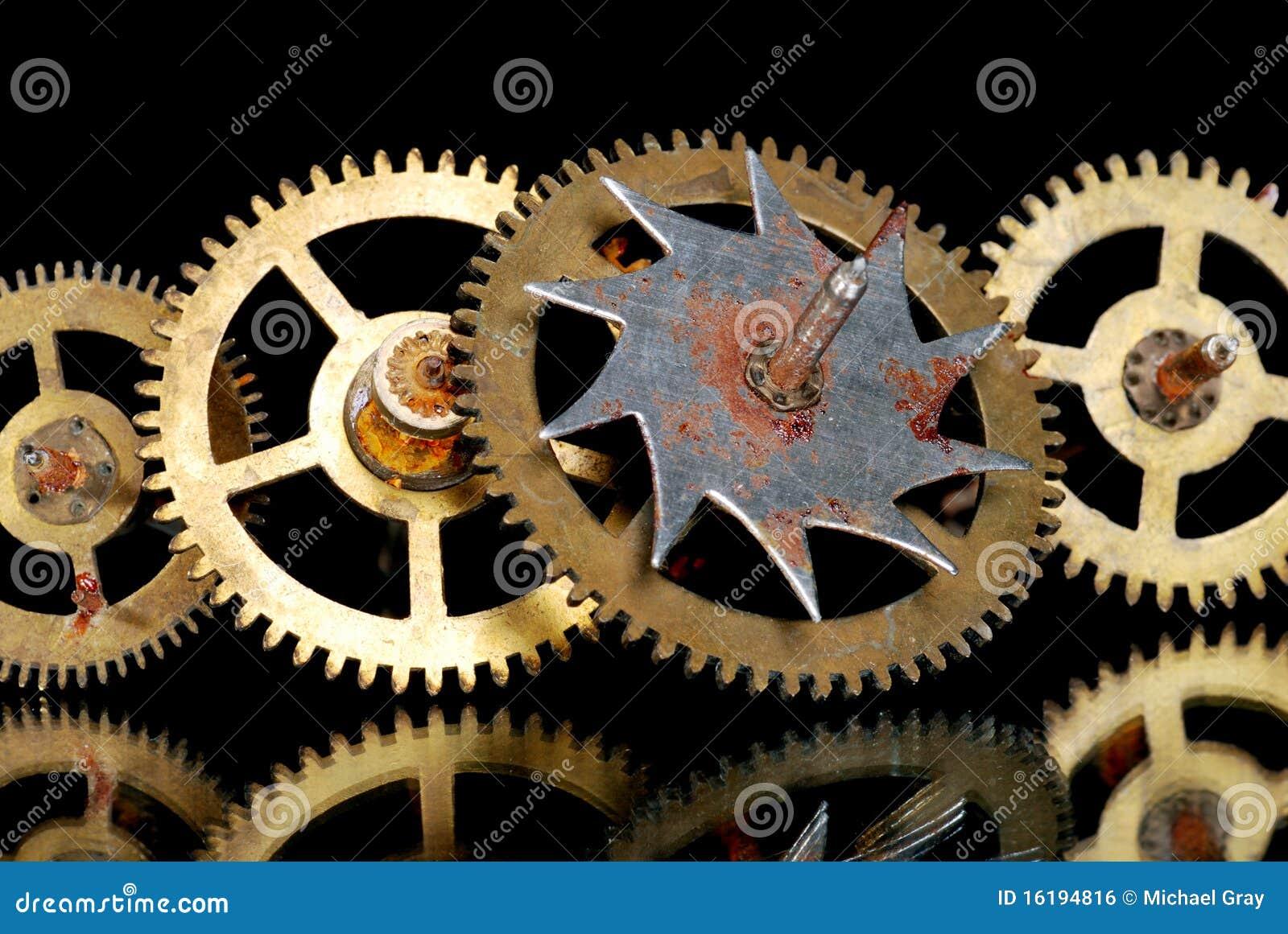 Old Clock Gears : Macro of rusty old clock gears royalty free stock image