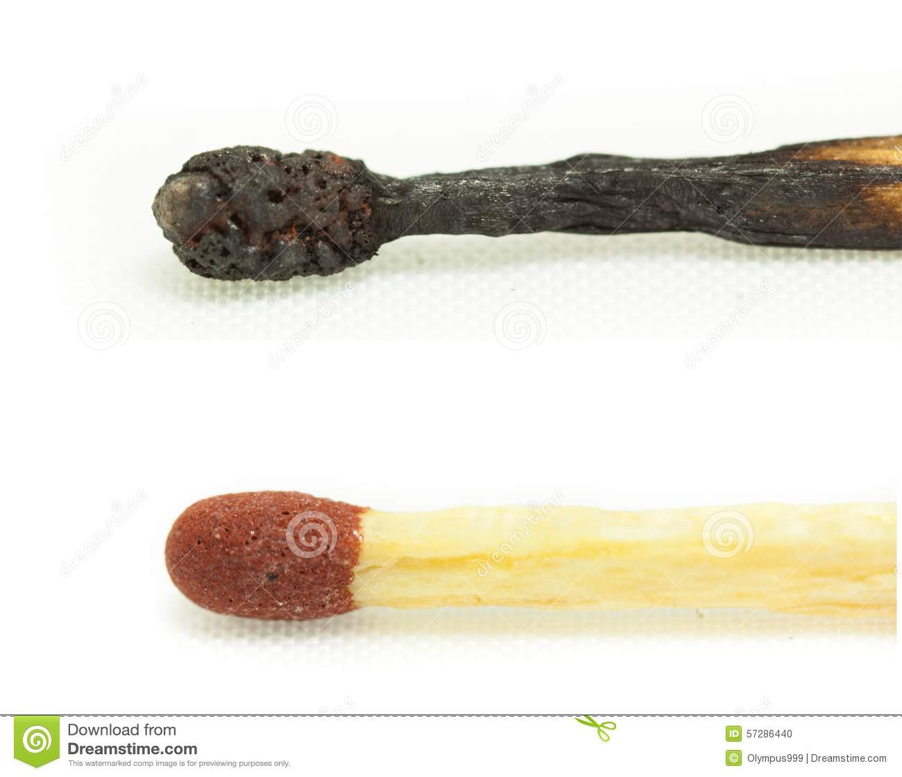 Macro shot of a burnt match head isolated