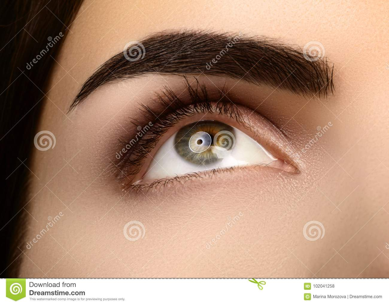 Close Up Beauty Of Womans Eye Smoky Eyes Makeup With Brown