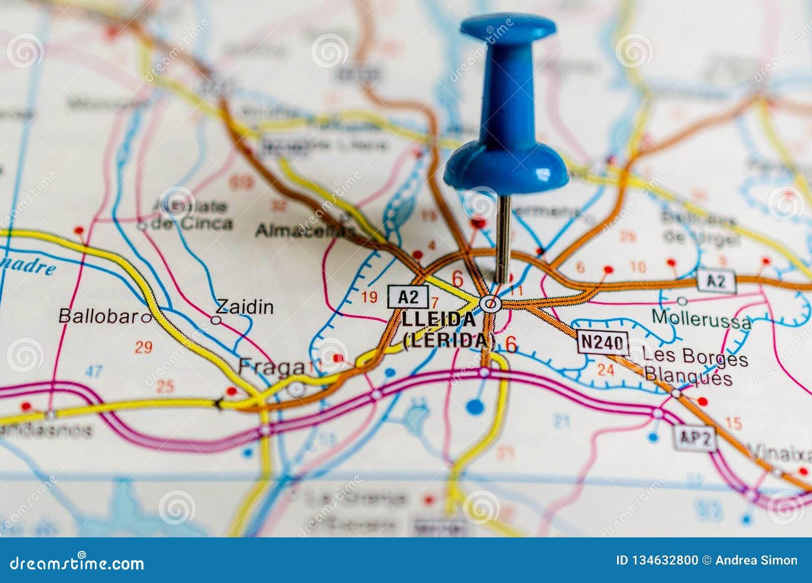 Lleida On Map Stock Photo Image Of Highway Europe 134632800