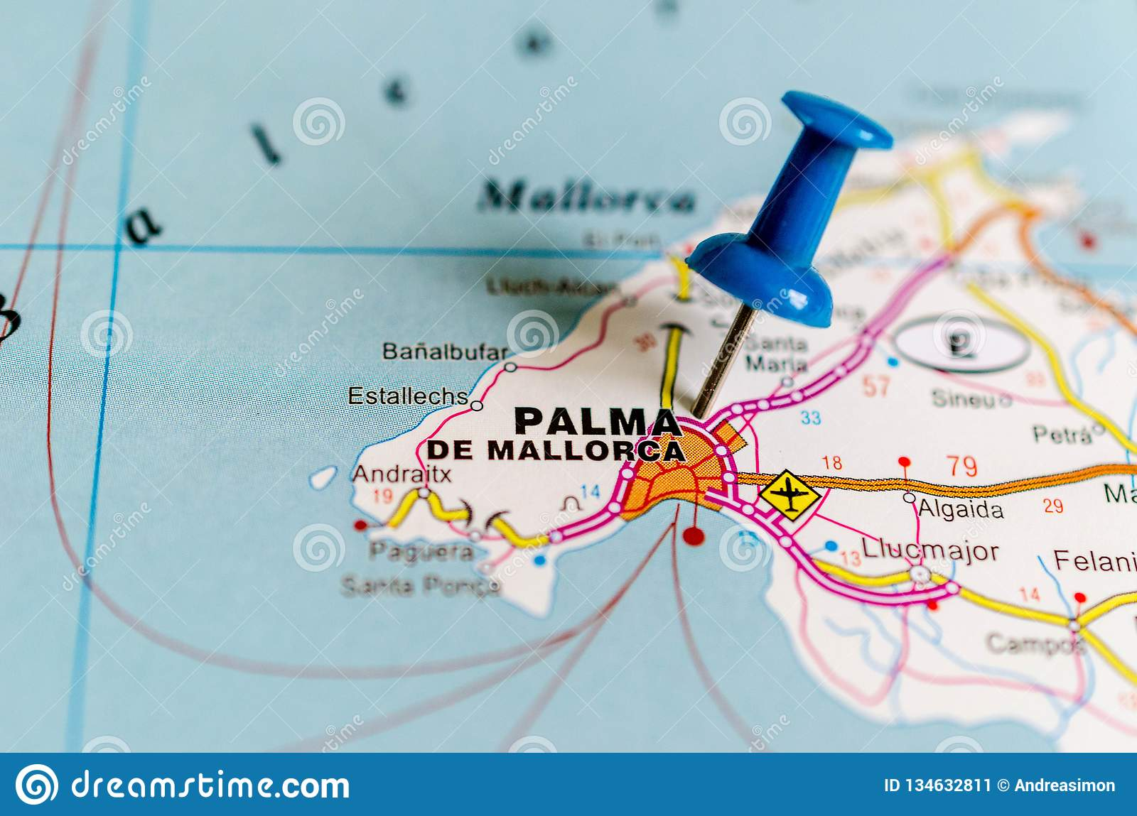 Map Of Spain Majorca.Palma De Mallorca On Map Stock Image Image Of Atlas 134632811