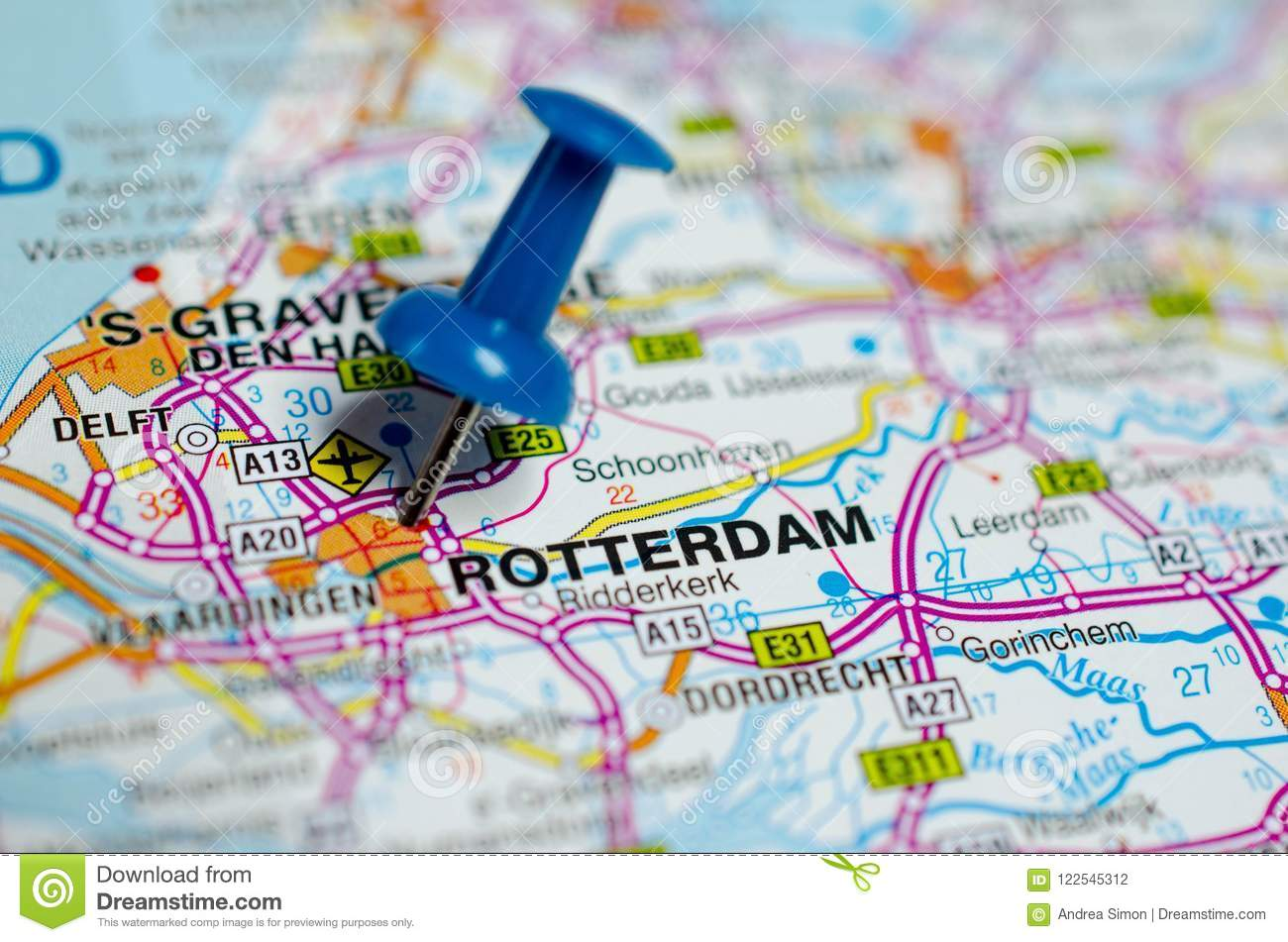 Rotterdam on map stock photo. Image of netherlands, travel ...