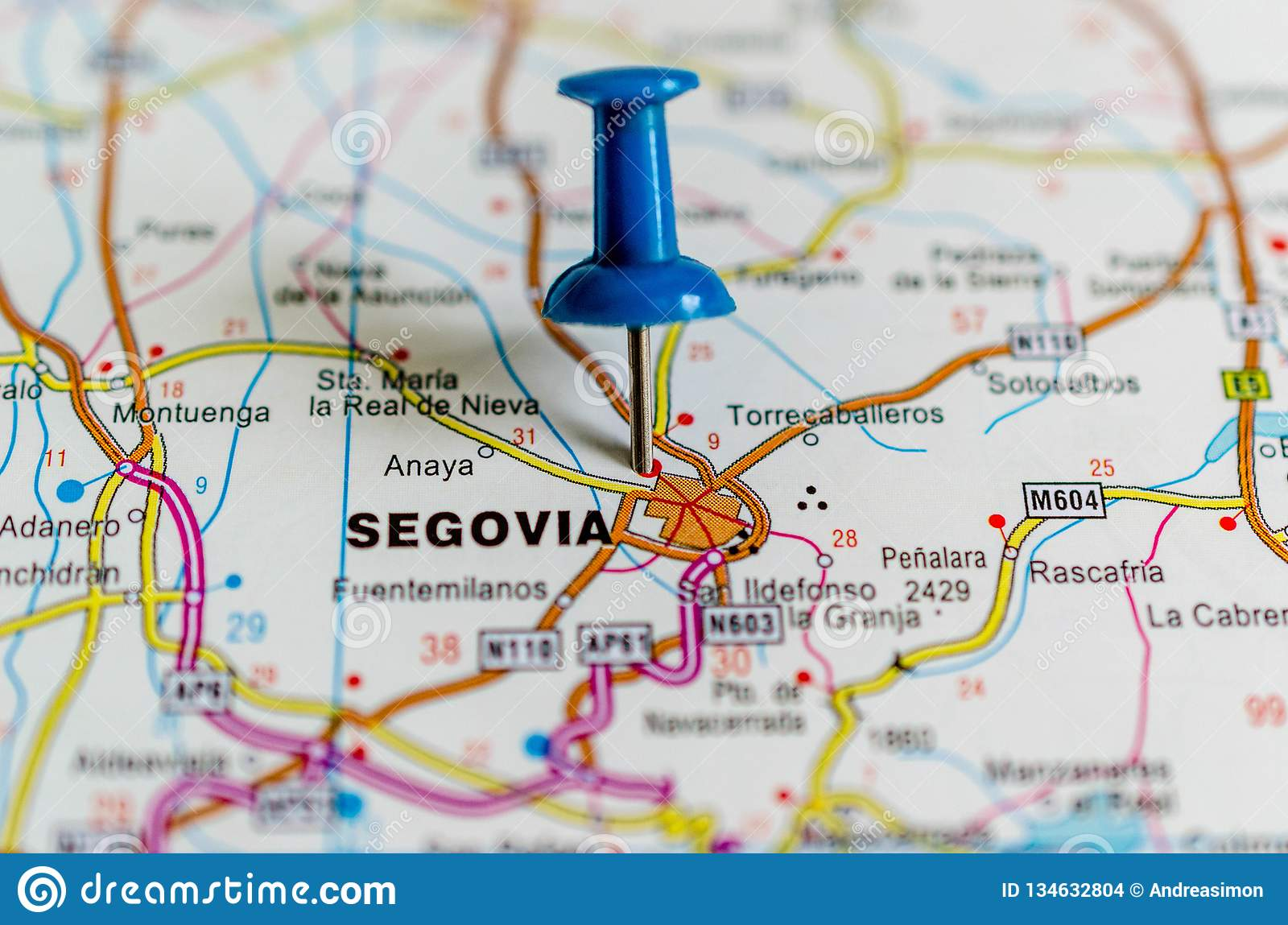 Map Of Central Spain.Segovia On Map Stock Photo Image Of Historic Capital 134632804