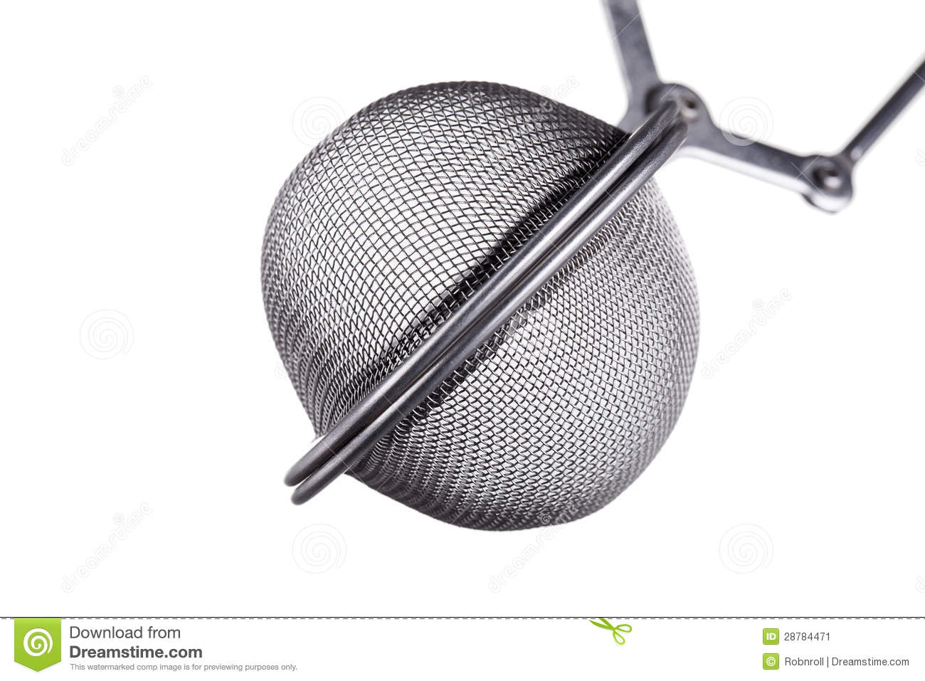 Macro shot of a tea infuser, isolated on white