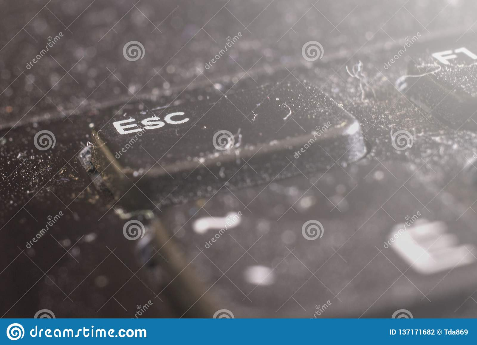Macro sujo do teclado do portátil, parte dianteira e fundo traseiro borrados