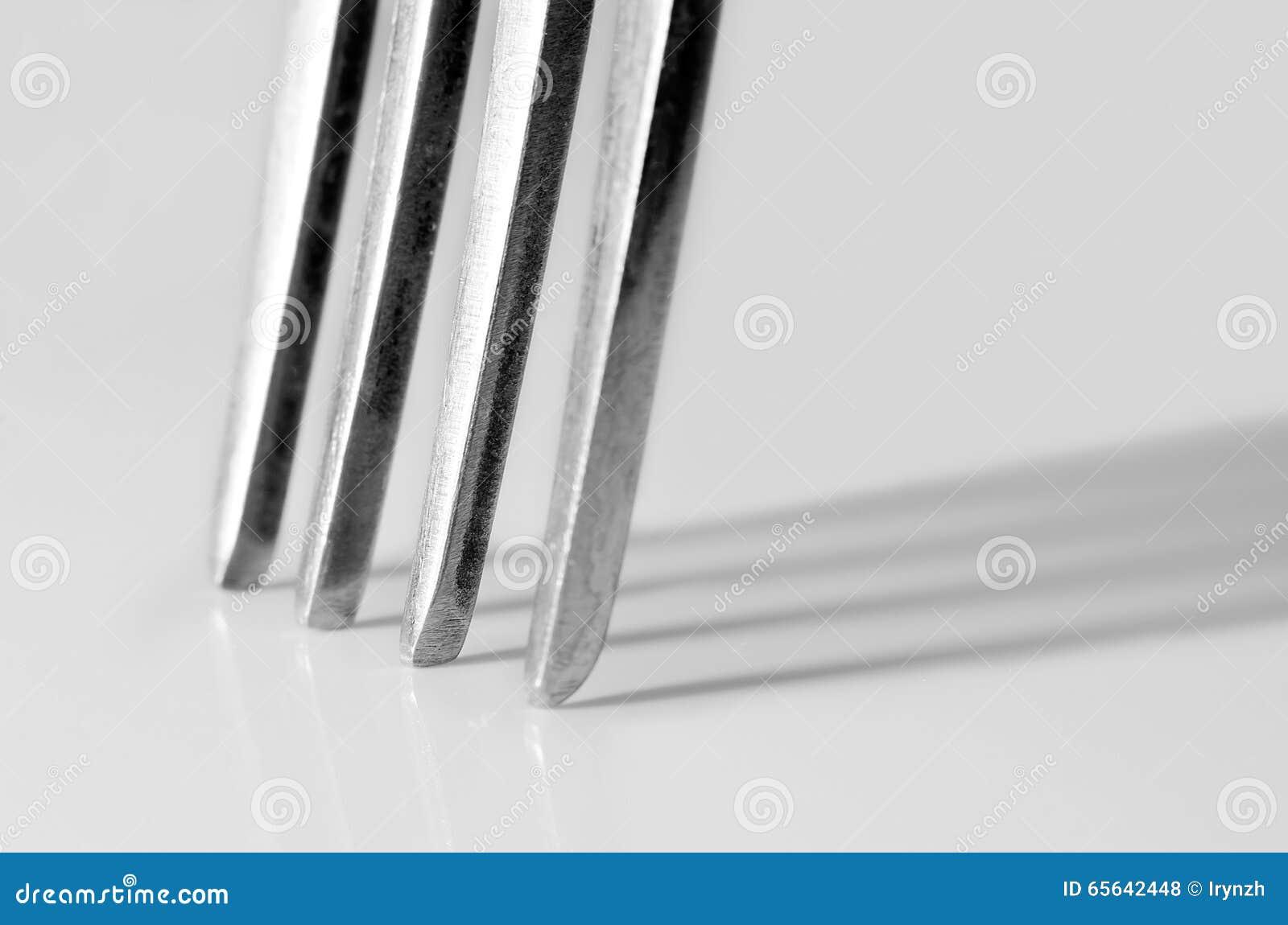 Macro tir des dents d une fourchette