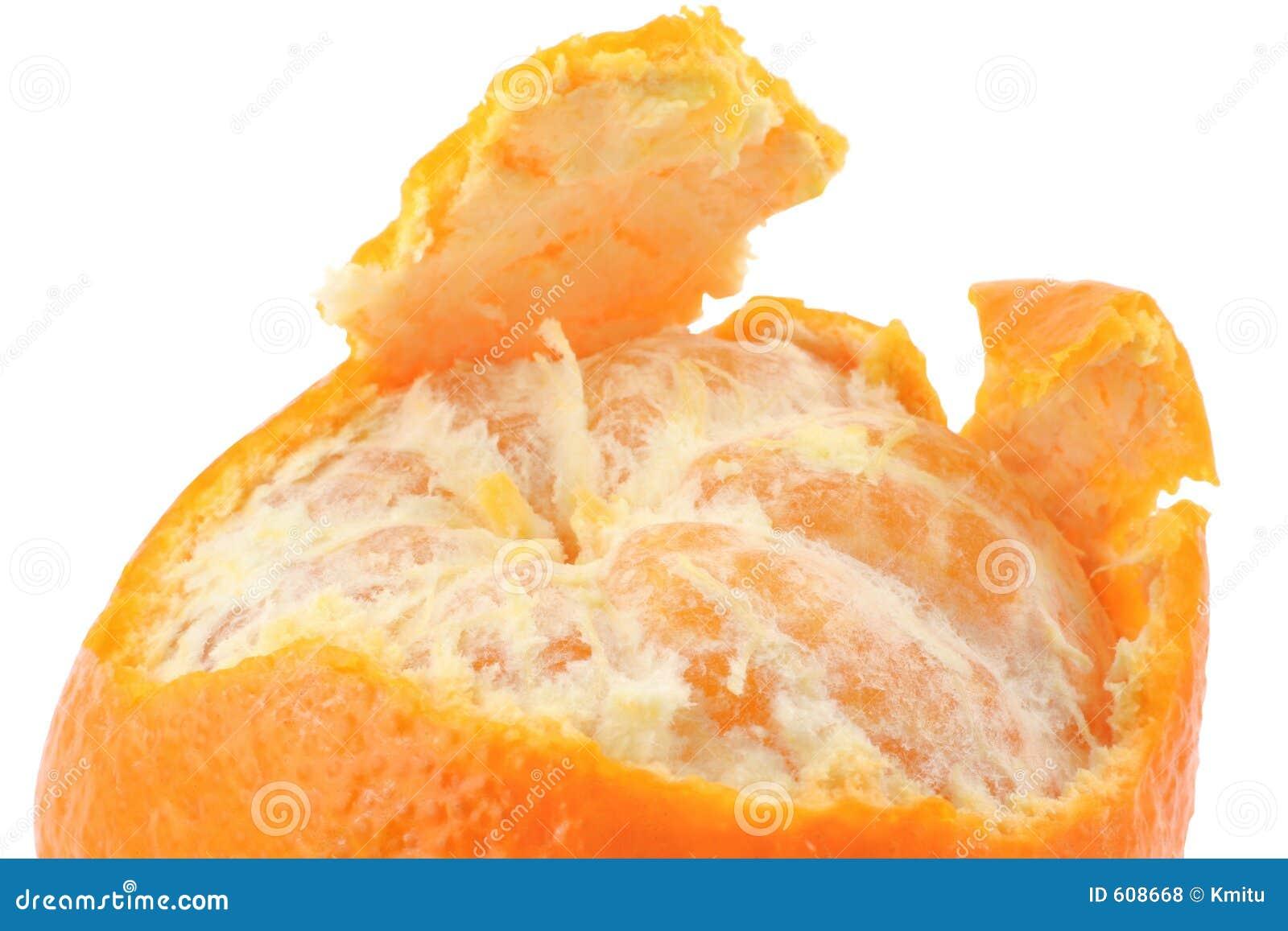 Macro van een gepelde mandarijn