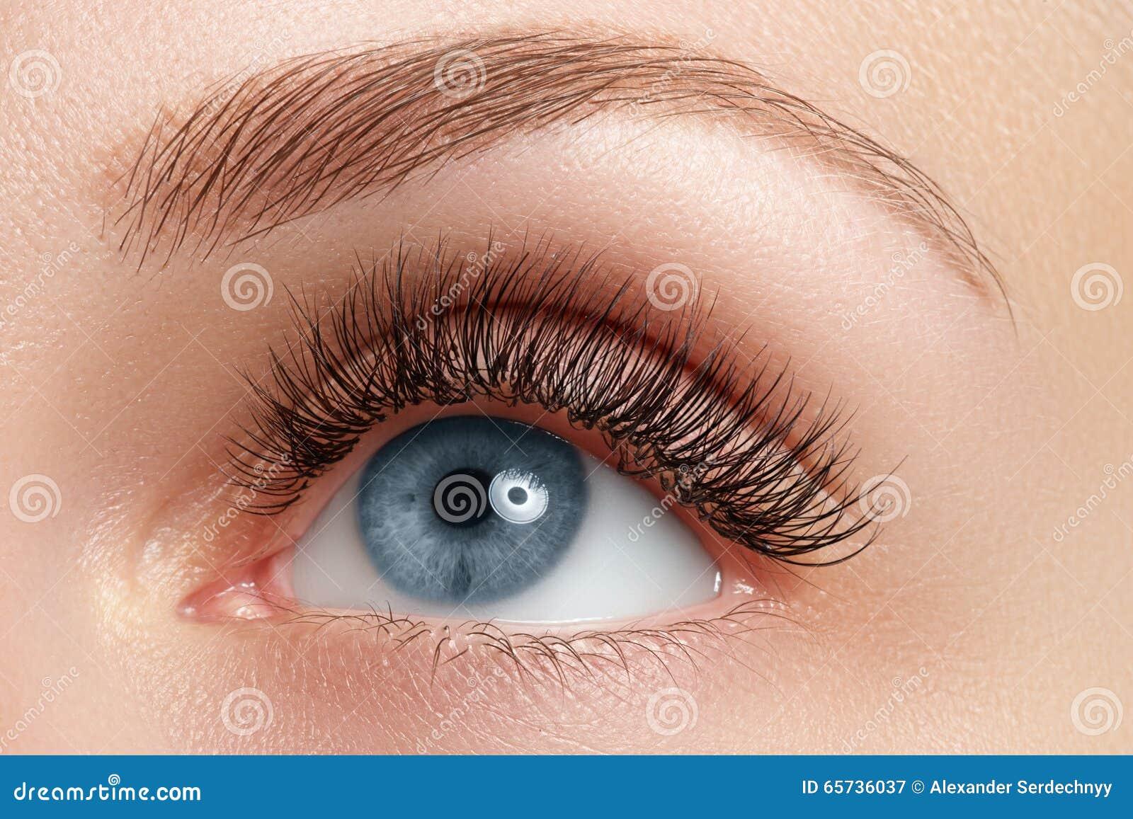 Macro van het mooie oog van de vrouw met wimpers wordt geschoten die Sexy mening, sensuele blik Natuurlijke make-up Macro van vro