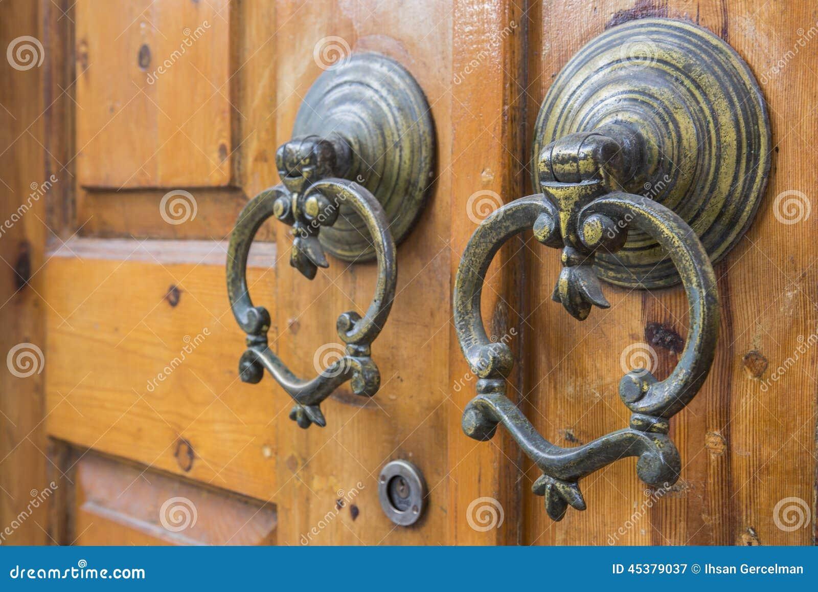 Macro view of antique door handles