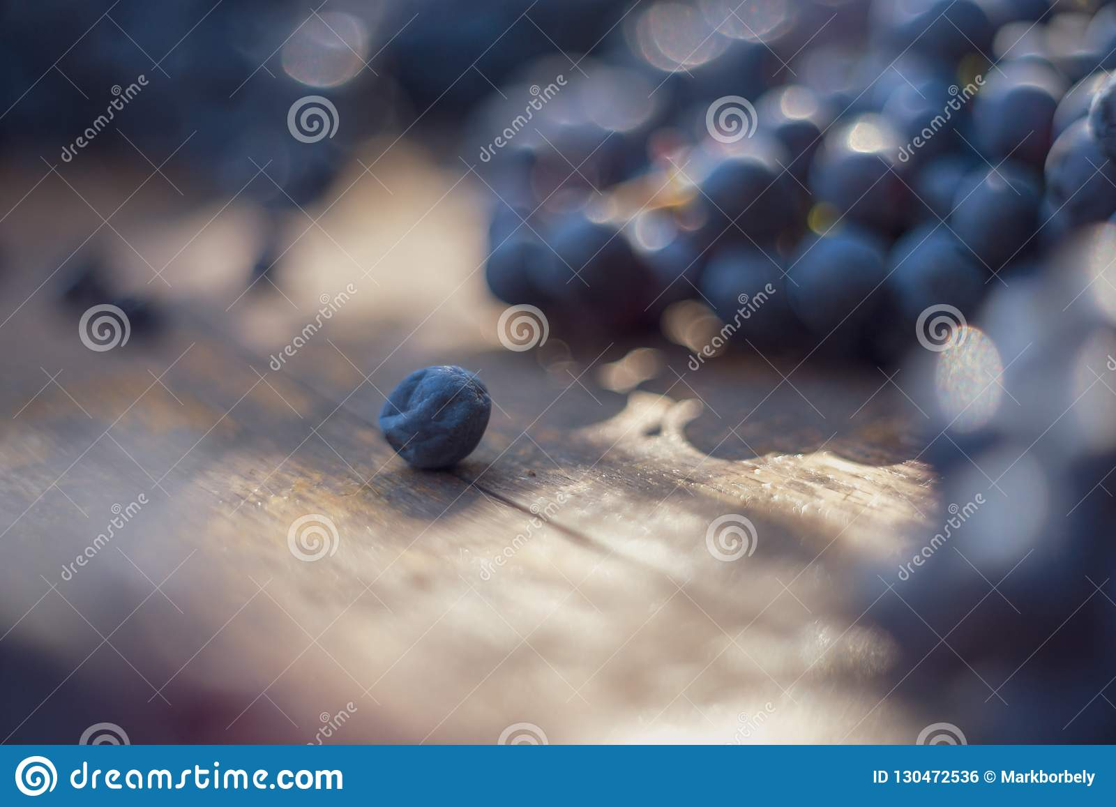Macro view of blue grapes on wine barrel