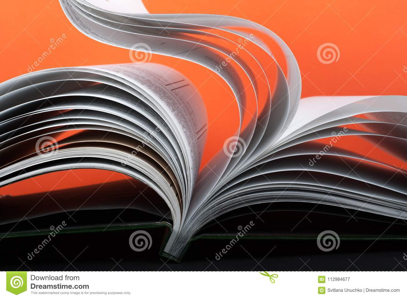 Macro view of book pages. Concept passion and fire.