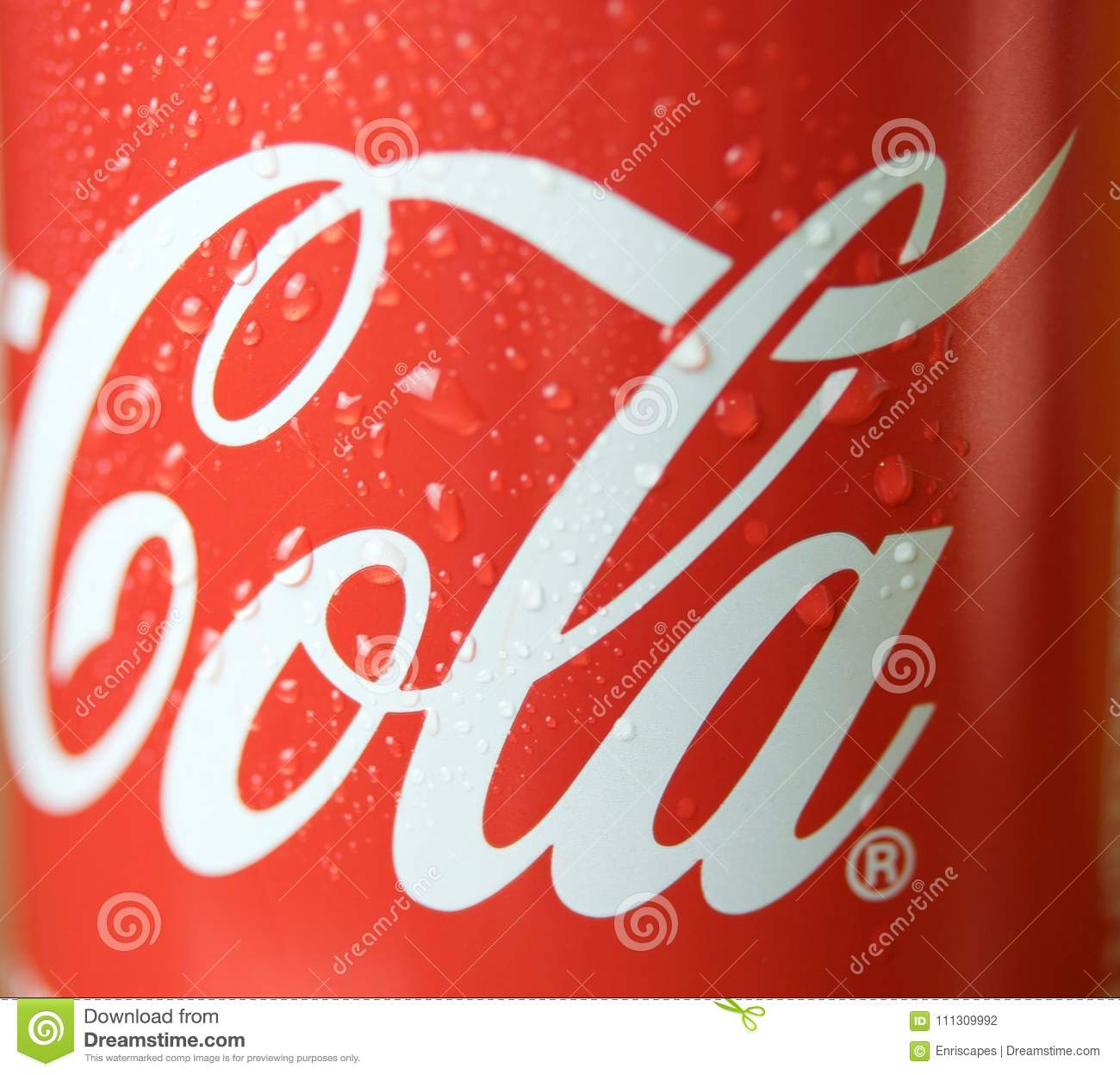 Coca Cola Cans With Drops Editorial Photography. Image Of