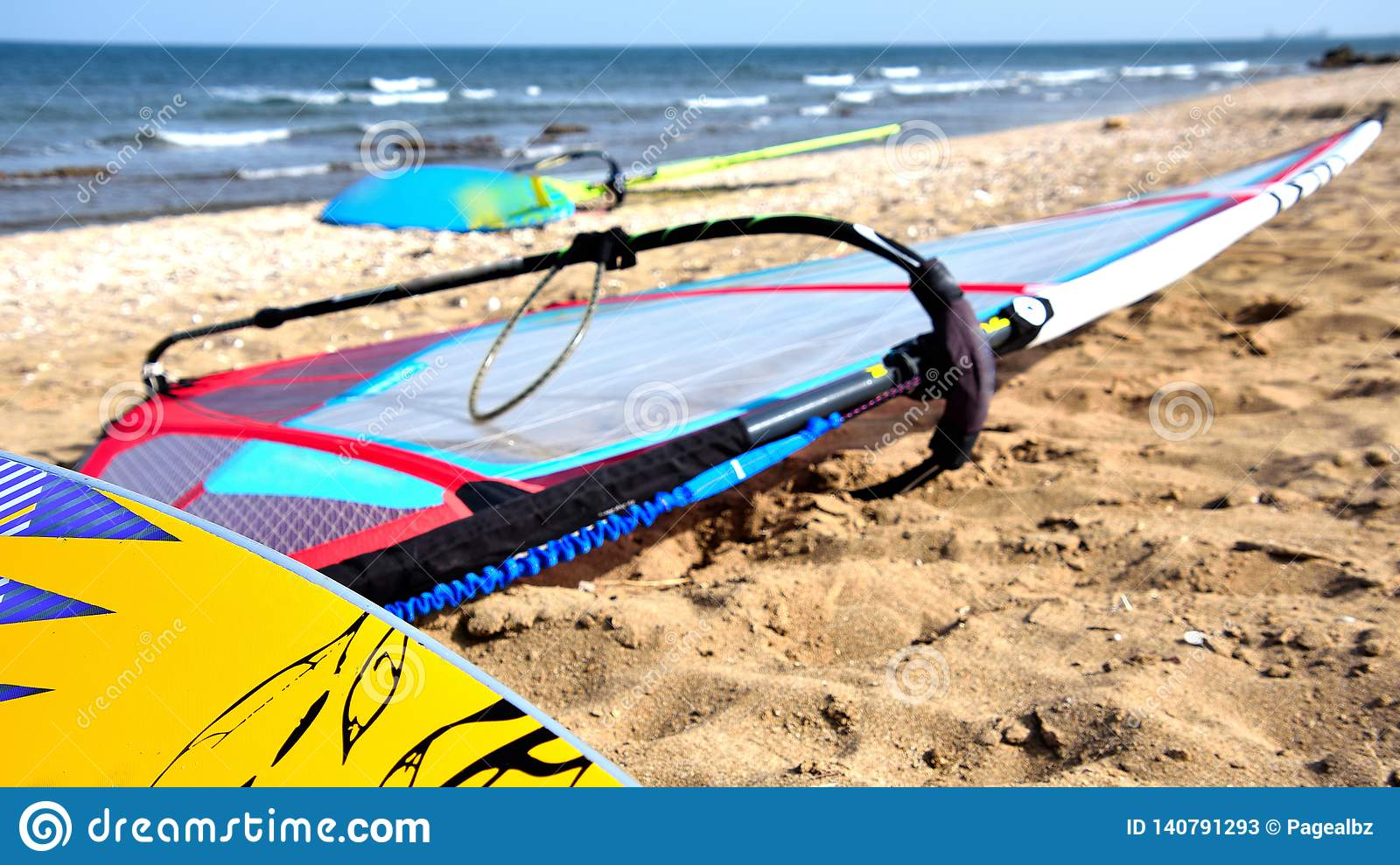 Windsurfing boards at rest stock image  Image of surfing