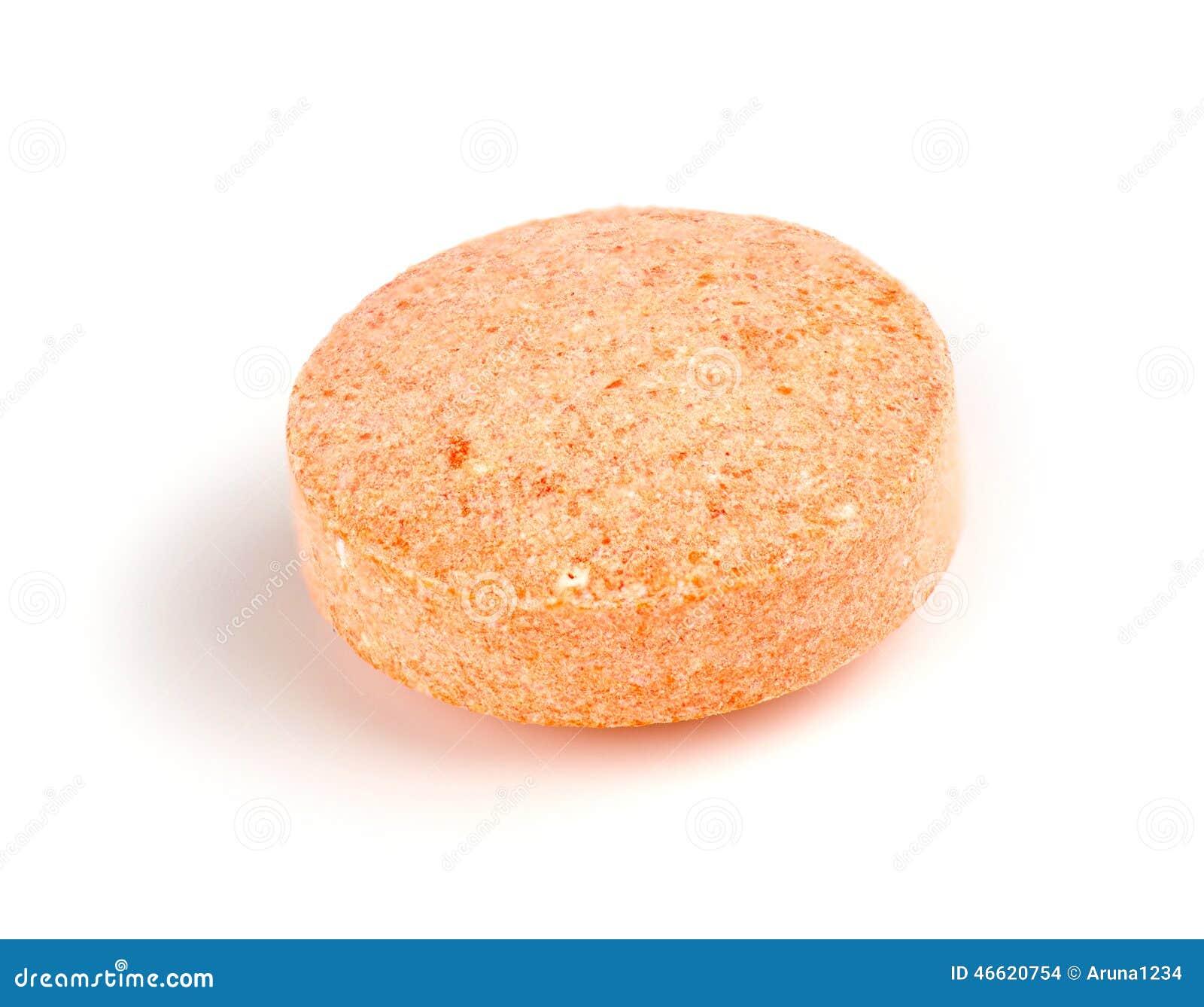 macroclose up van oranje ge soleerde vitamine c te kauwen tablet stock foto afbeelding 46620754. Black Bedroom Furniture Sets. Home Design Ideas