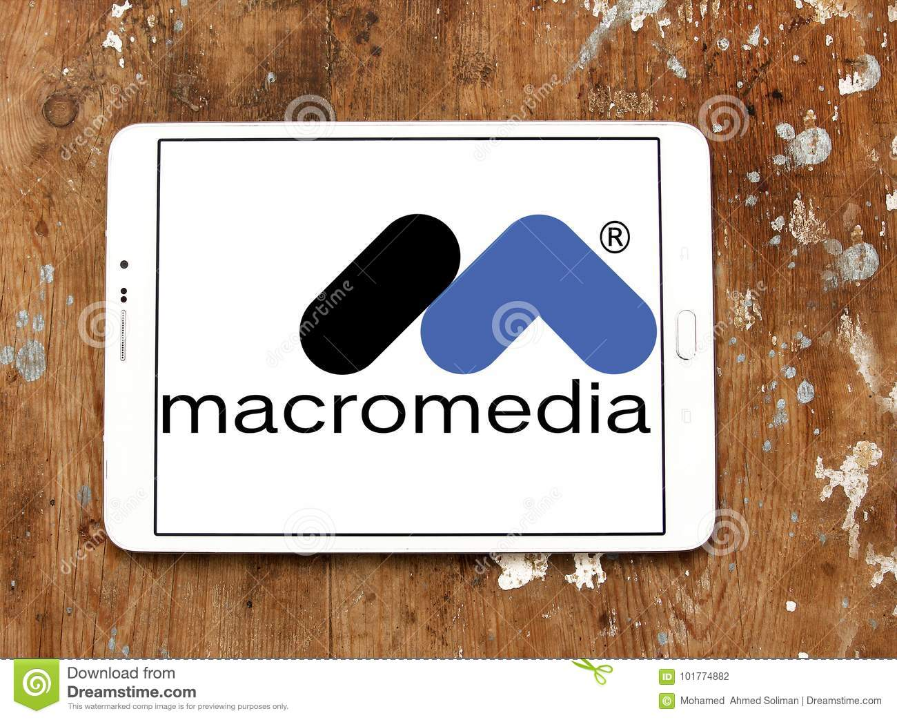Logo Of Macromedia Software Company On Samsung Tablet On Wooden Background Macromedia Is An American Graphics Multimedia And Web Development Software