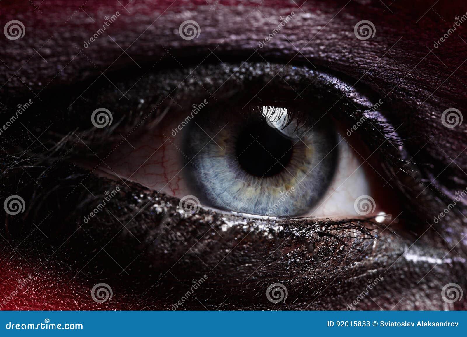 Macroschoonheids blauw Oog met Rokerige Make-up