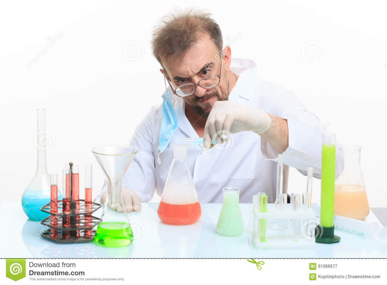 Mad Chemist In The Lab Doing Reaction Photo Image 61066677 – Lab Chemist
