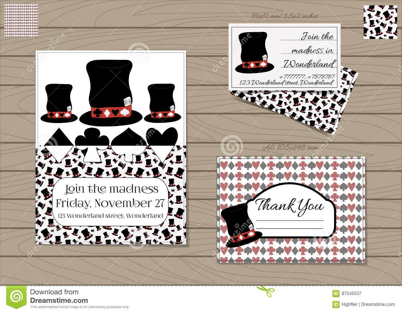 Mad Hatter Hat Collection Stock Vector Illustration Of Invitation