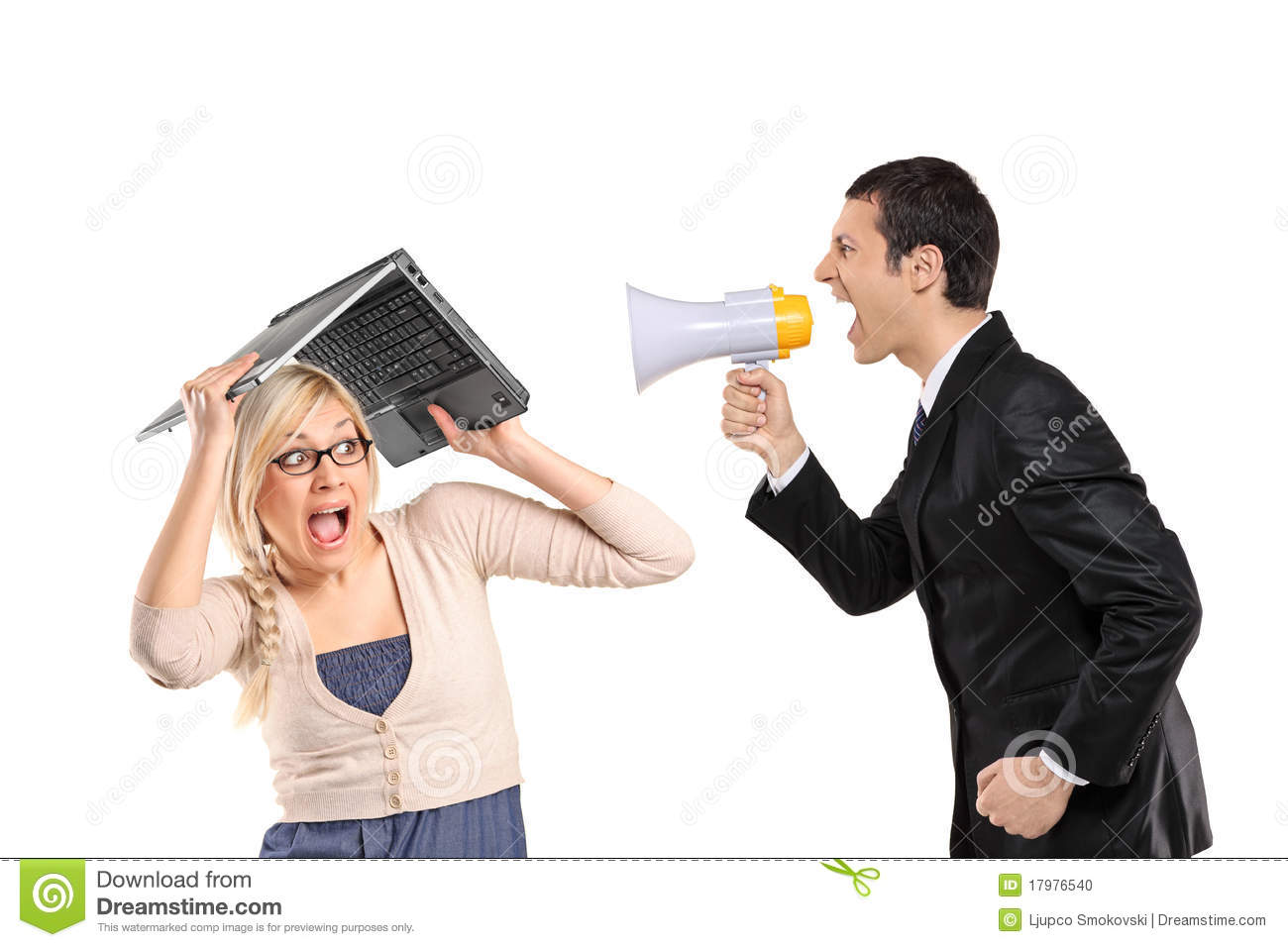 Portrait Of A Man Yelling Into A Megaphone Against White ...