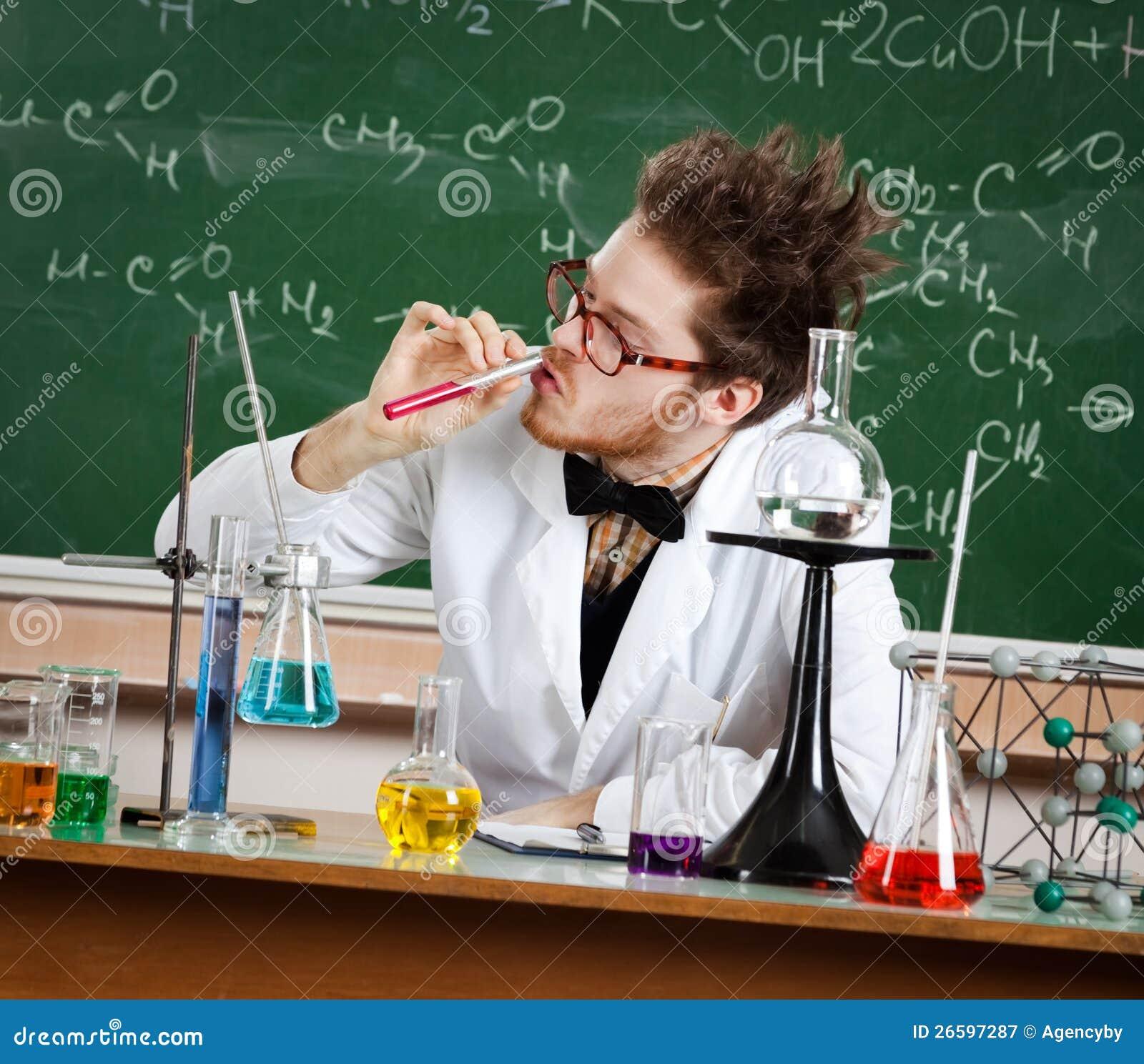 Mad Professor Sniffs The Liquid Royalty Free Stock