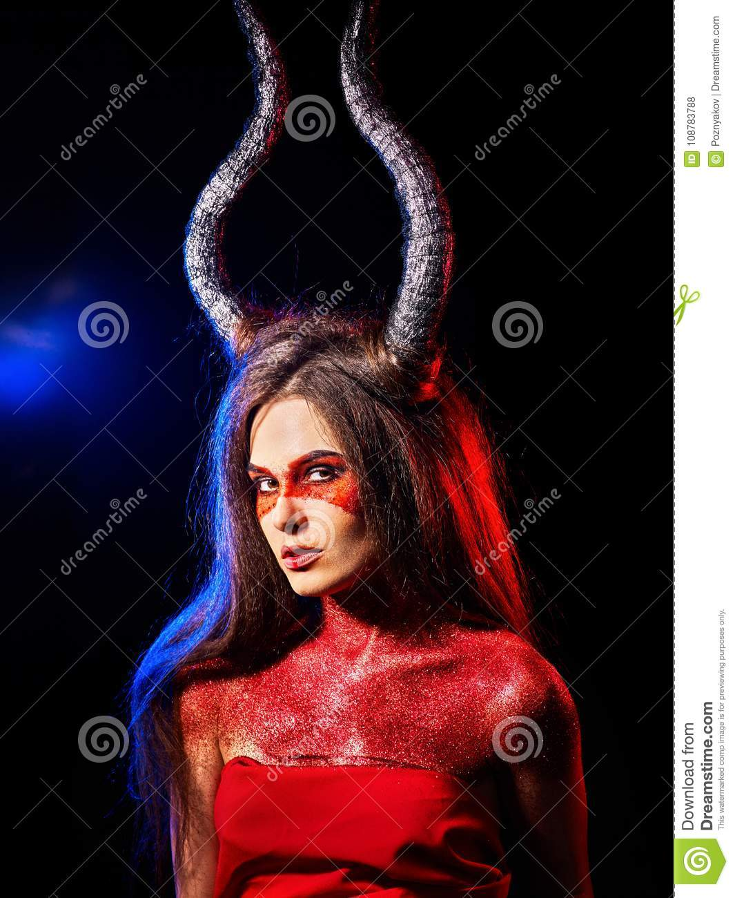 Mad satan woman aggressive cry in hell . Witch reincarnation creature.
