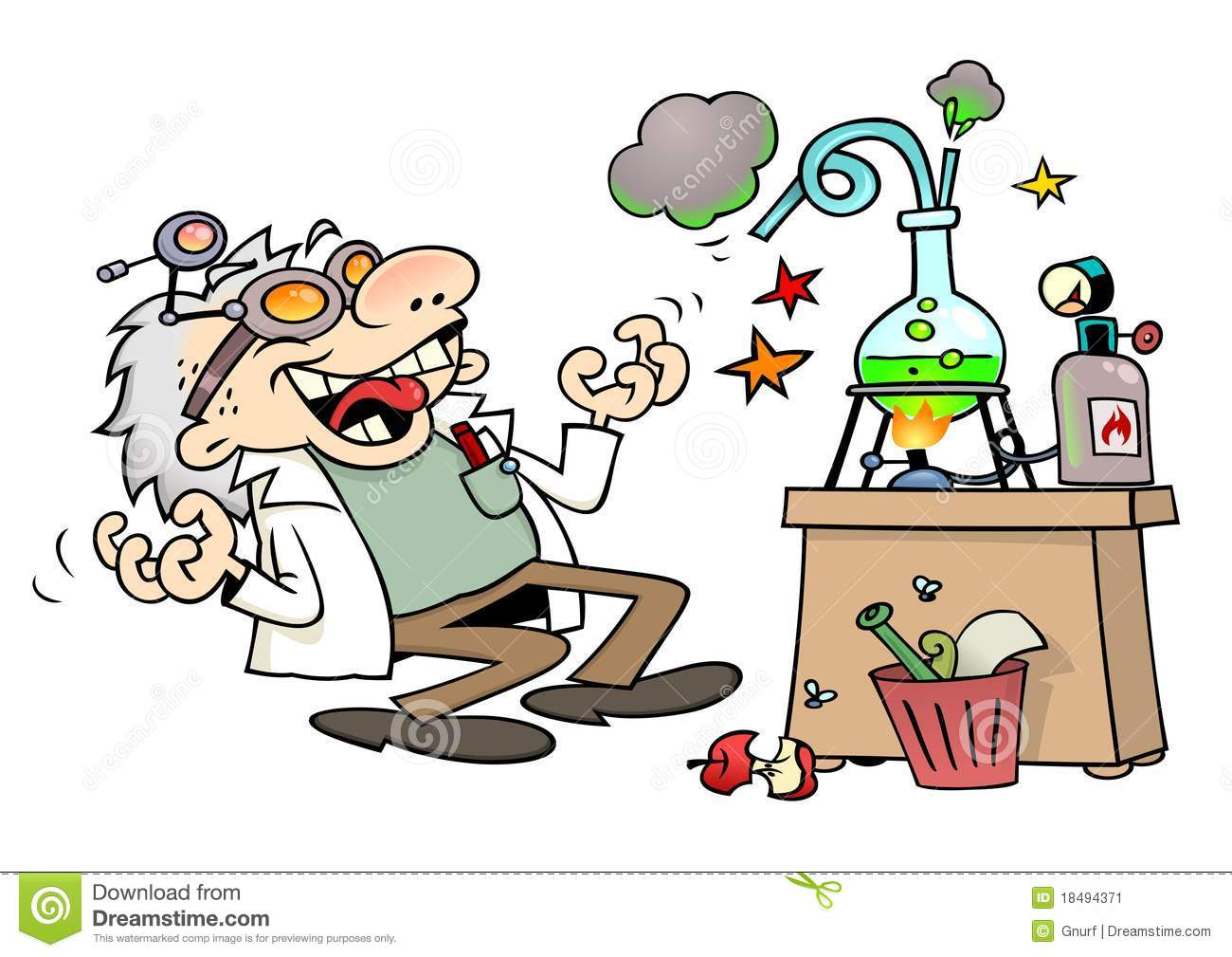 Mad scientist laughing insanely by his laboratory desk.