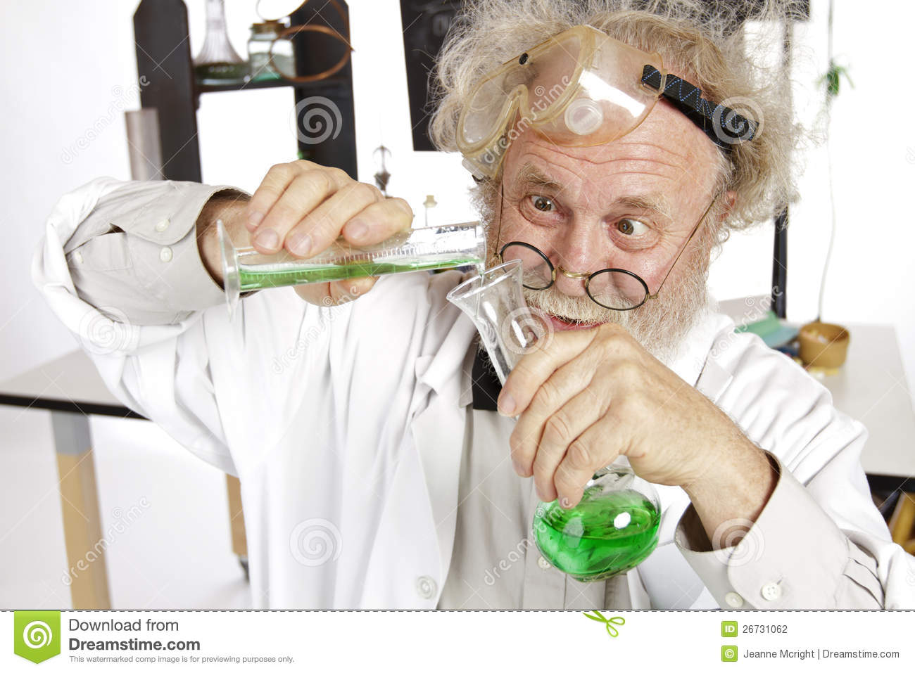 Mad Scientist Conducts Chemistry Experiment Stock Photography - Image ...