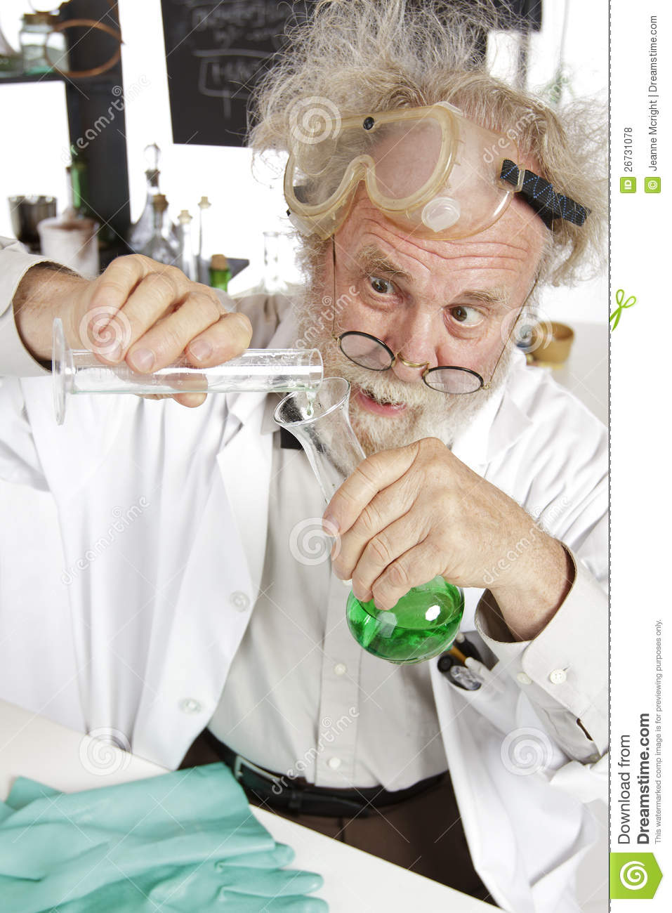 Mad Scientist Conducts Chemistry Experiment Royalty Free