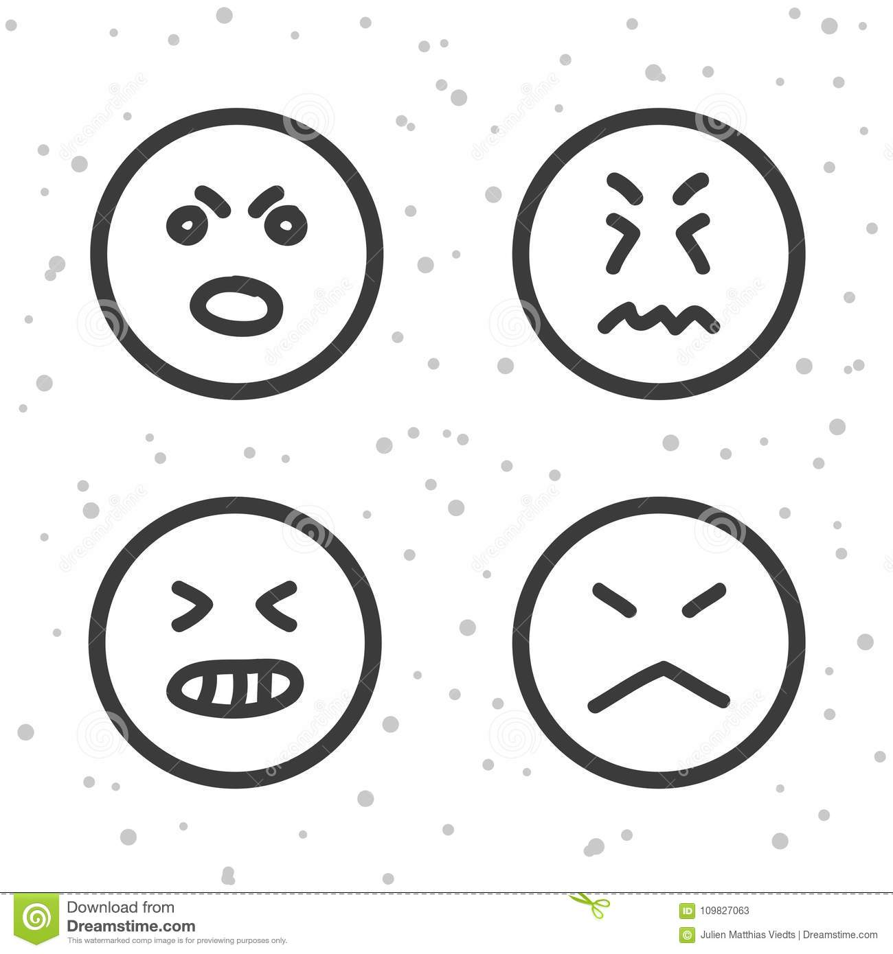 Mad Smiley Icons Angry And Bad Emoticons Symbols Stock Vector