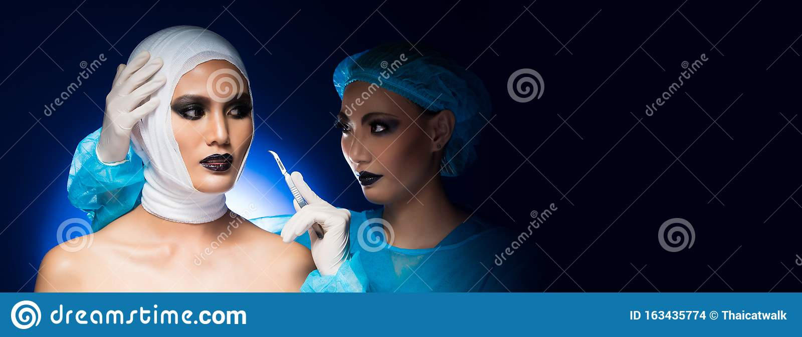 Mad Woman Doctor Acting Surgery On Face Patient Stock Photo Image Of Health Concept 163435774