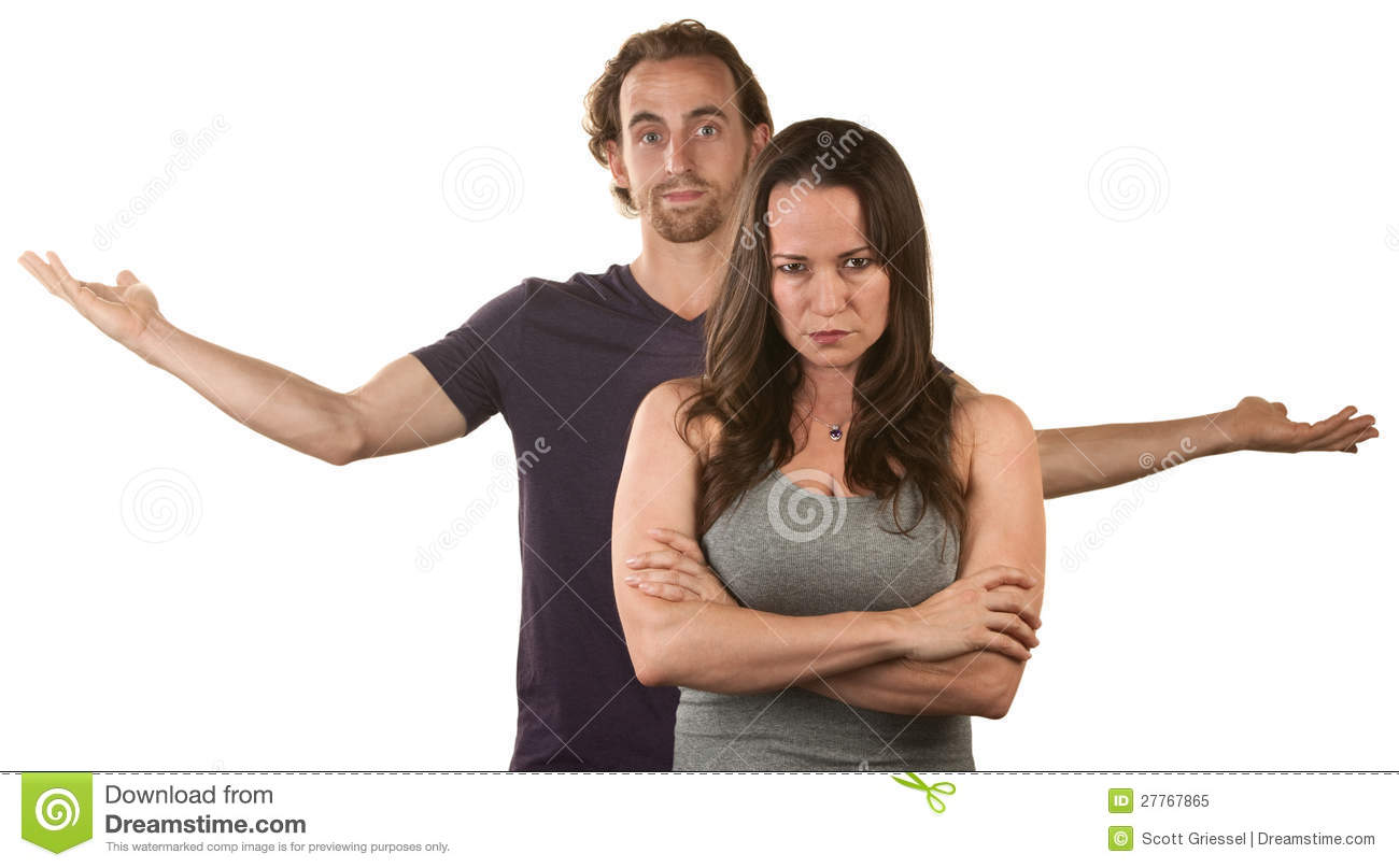 Mad Woman And Frustrated Man Royalty Free Stock Photo ...