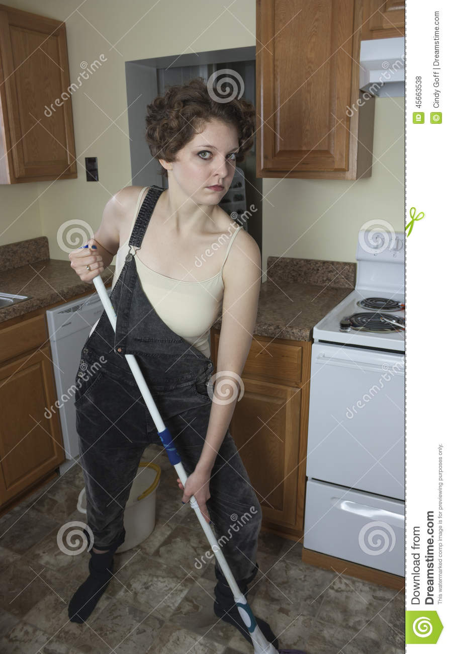 Mopping Kitchen Floor Mad Woman Mopping Floor Stock Photo Image 45663538