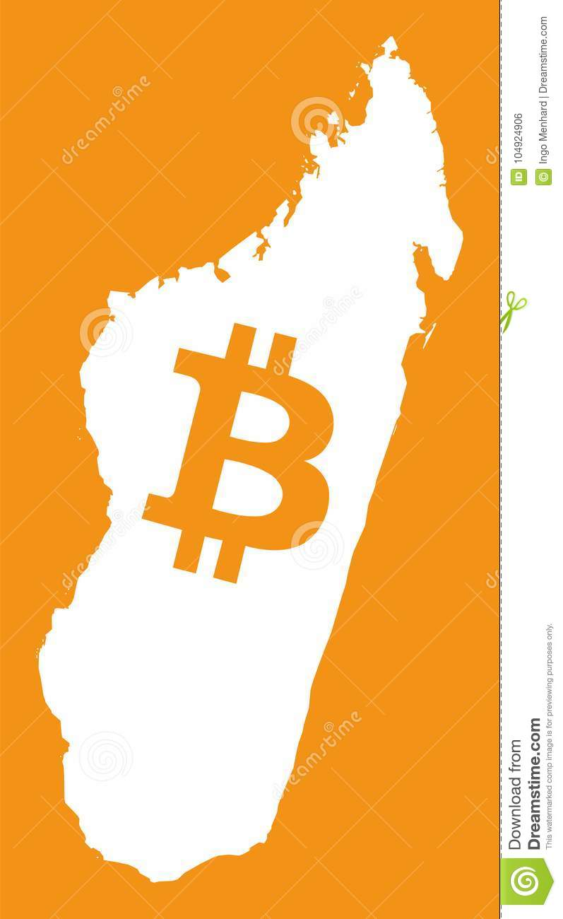 Madagascar Map With Bitcoin Crypto Currency Symbol Illustration