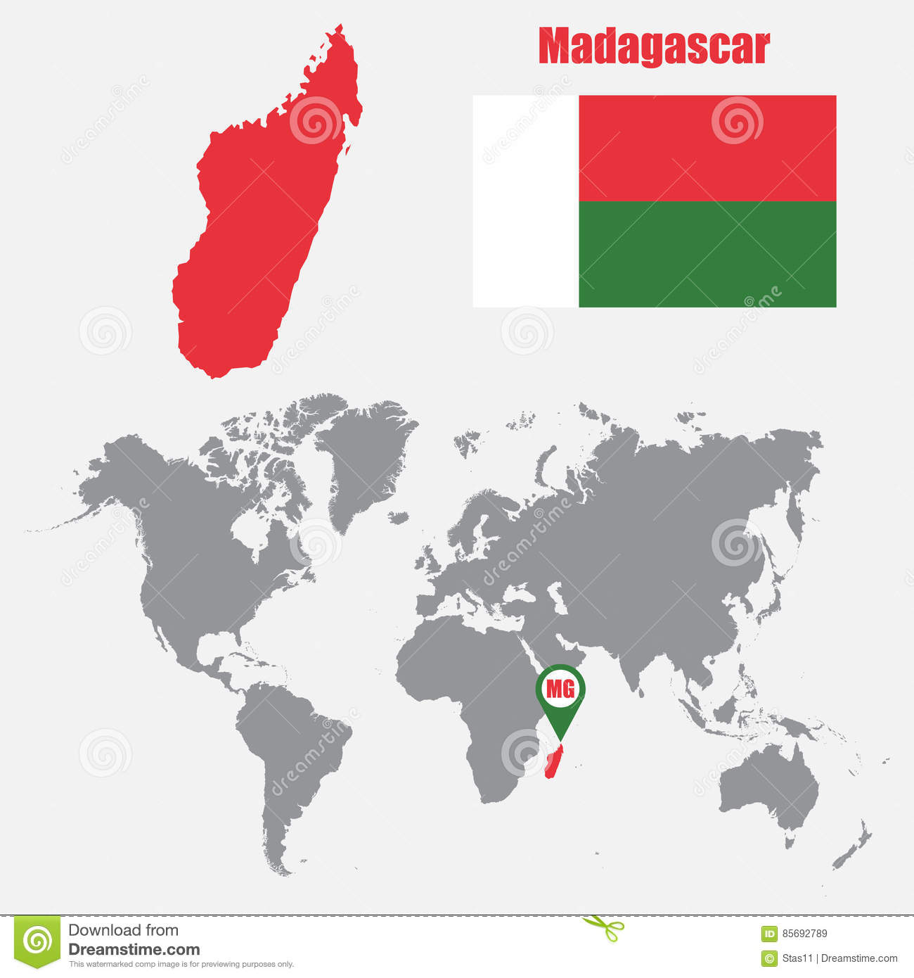 Madagascar Map On A World Map With Flag And Map Pointer. Vector ...