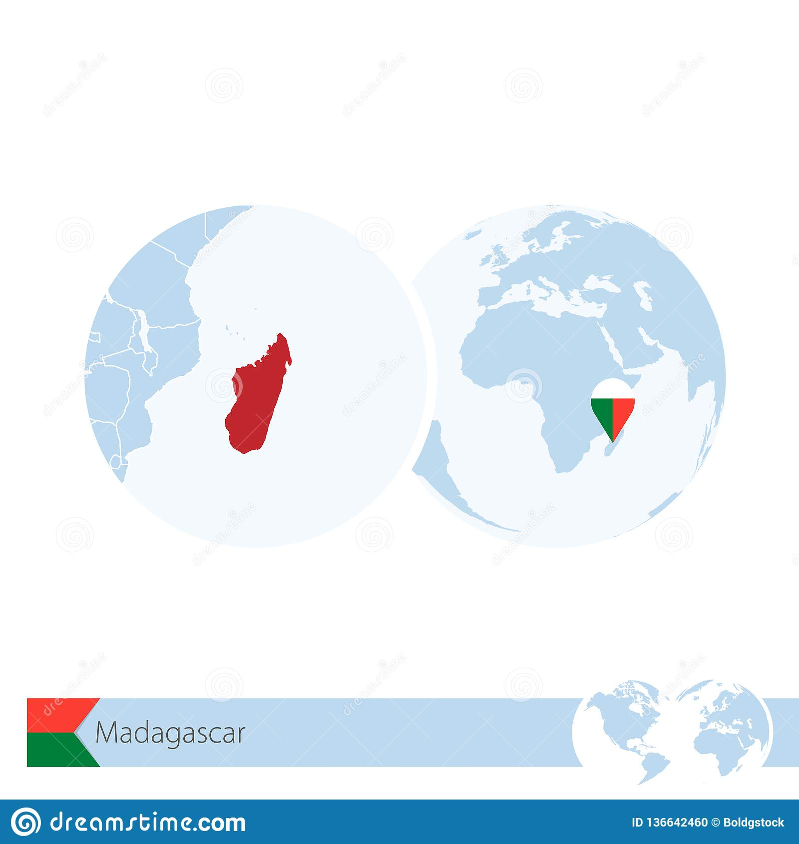 Madagascar On World Globe With Flag And Regional Map Of Madagascar ...