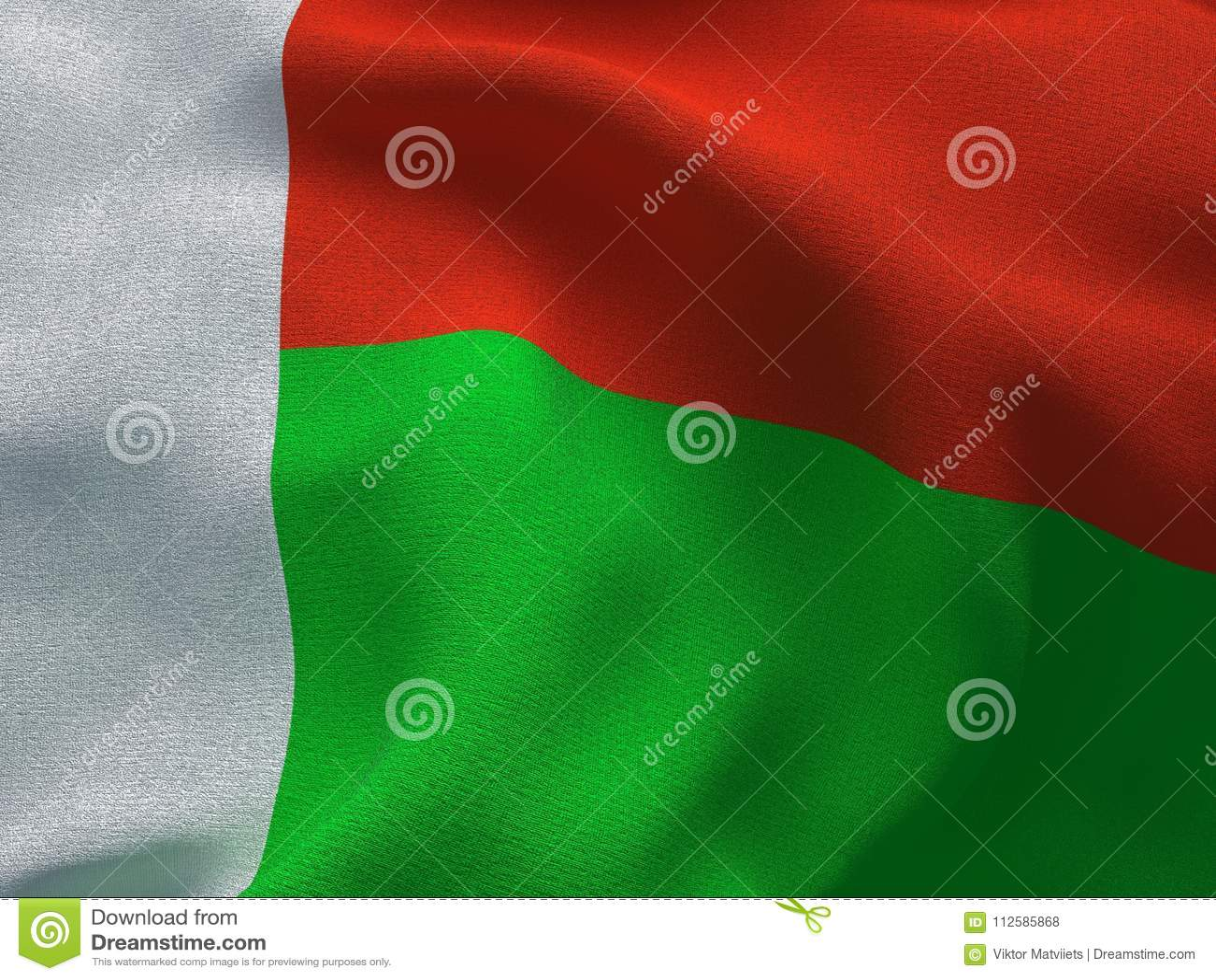 Madagaskar flaga na tkaniny podstawie