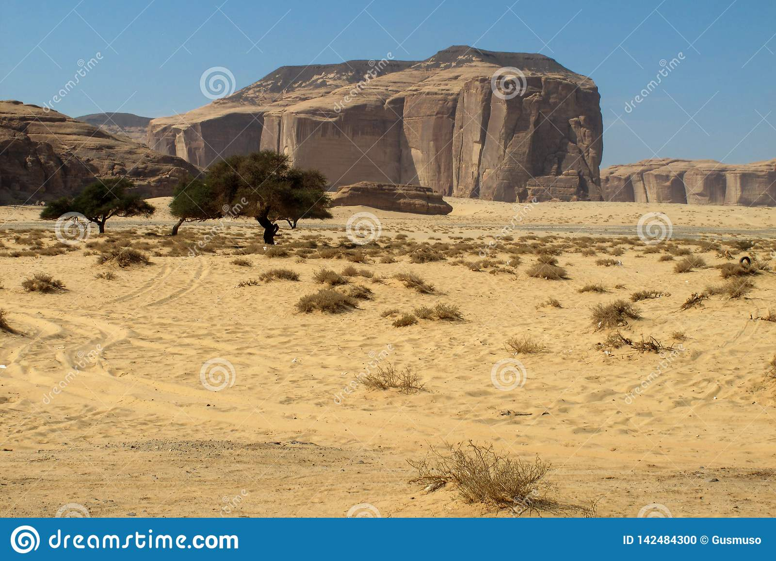 Madain Saleh, archäologische Fundstätte mit Nabatean-Gräbern in Saudi-Arabien KSA