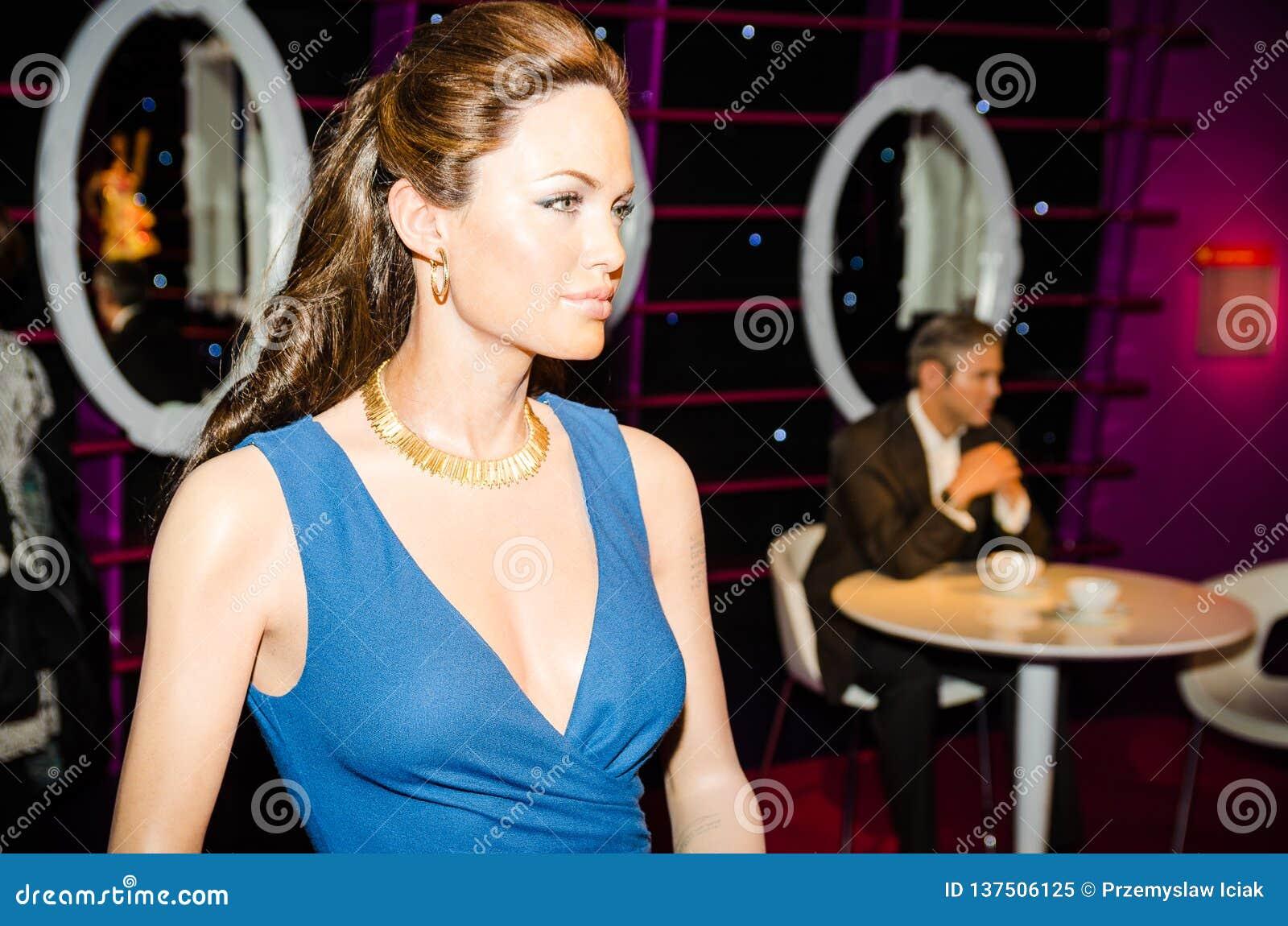 Madamtussauds, vaxmuseum Turist- dragning Vaxdiagram av Angelina Jolie