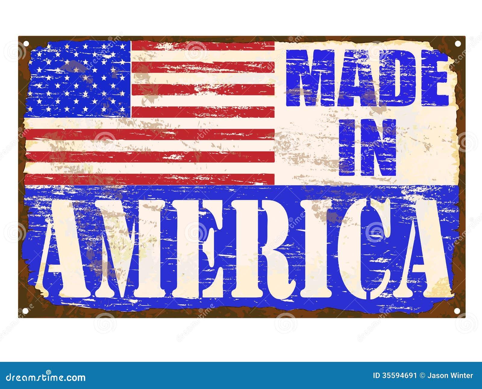 made in america enamel sign stock vector illustration 35594691. Black Bedroom Furniture Sets. Home Design Ideas