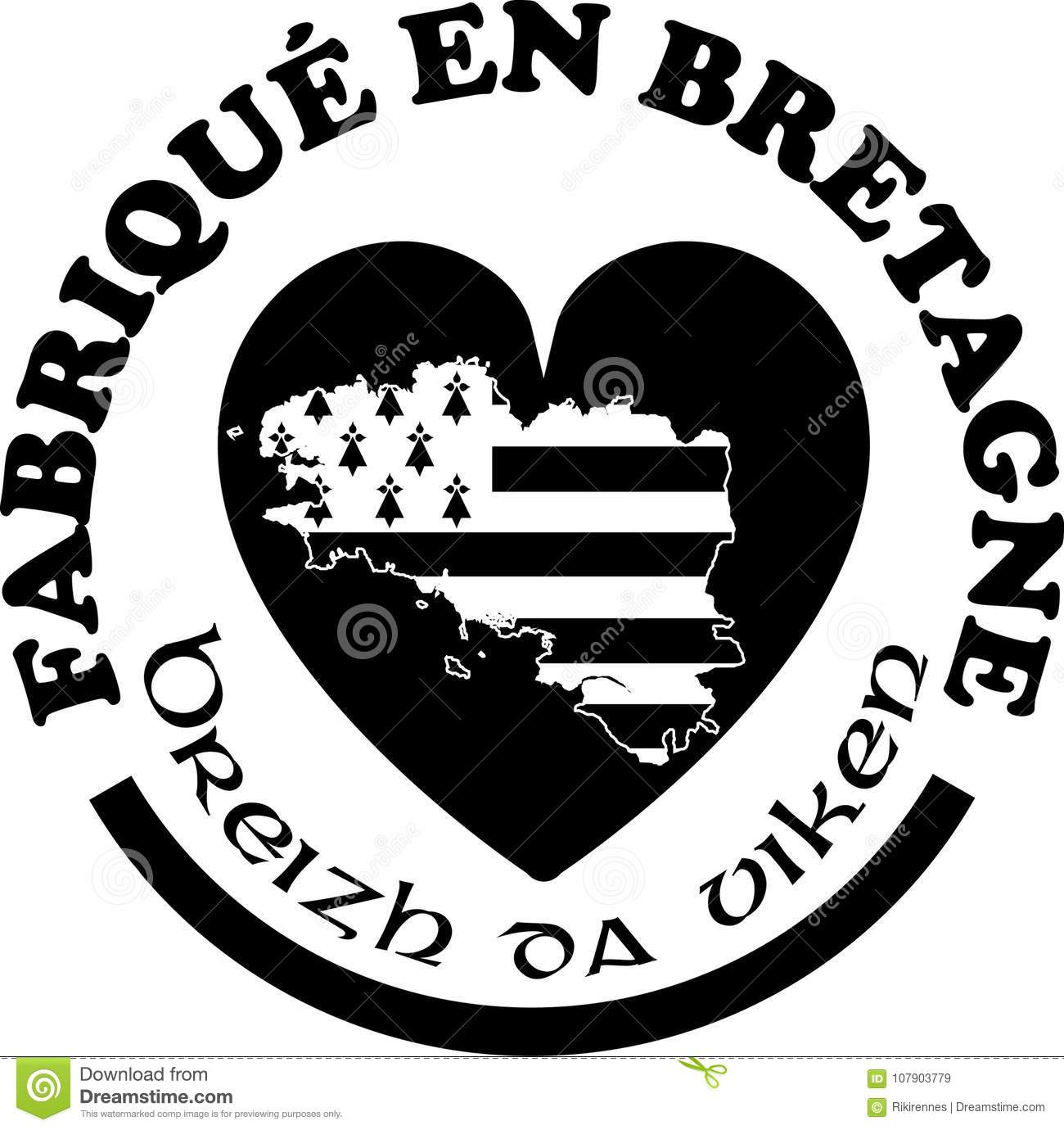 made in brittany labels vector templates with signs in french and